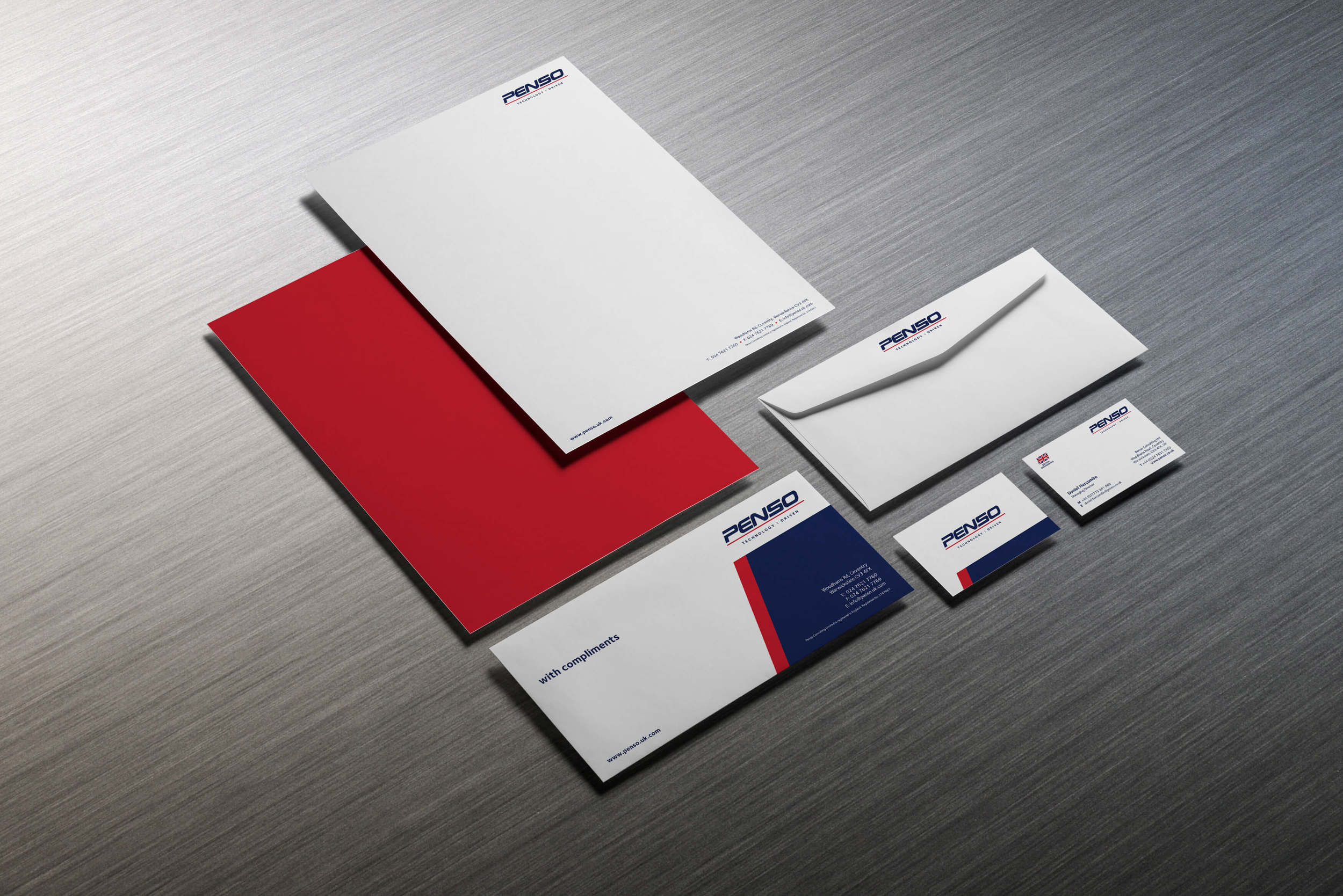 Corporate stationery including letterhead and compliments slip design and buiness cards for Penso, Warwickshire.