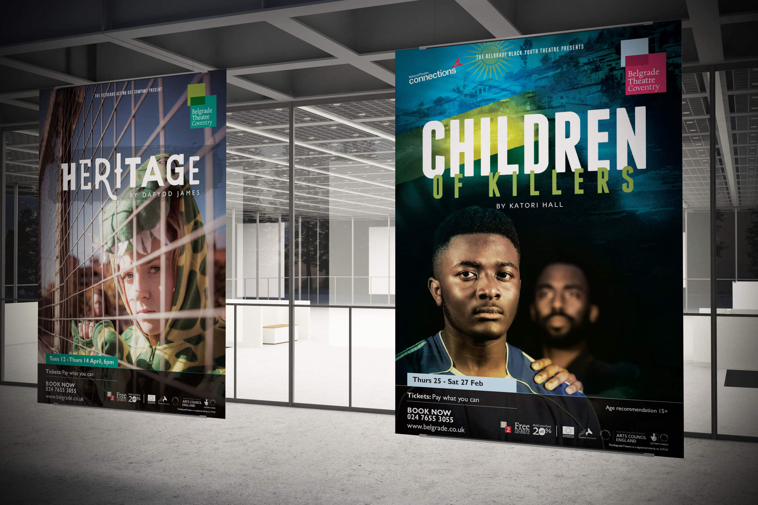 Belgrade Theatre, Coventry show artwork for Hertitage, Children of Killers and What Are they Like? designed by Create Onsight.