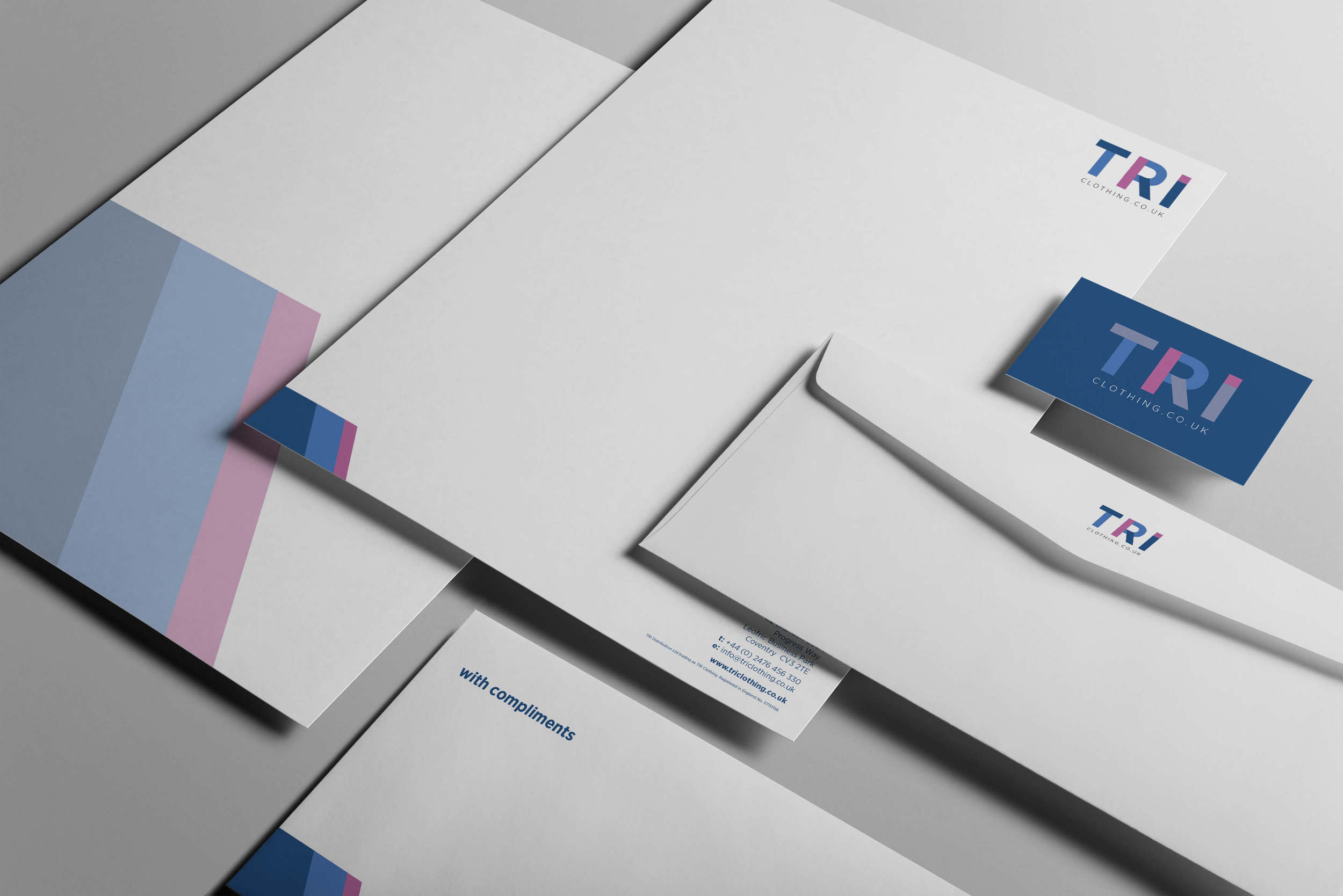 Letterhead, business cards and compliments slips designed by Create Onsight for TRI Clothing, Coventry