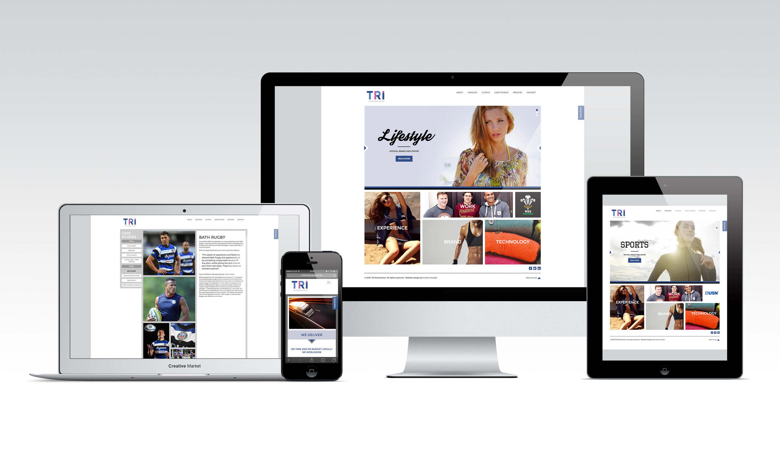 A fully responsive Wordpress website designed in house by Create Onsight for TRI Clothing