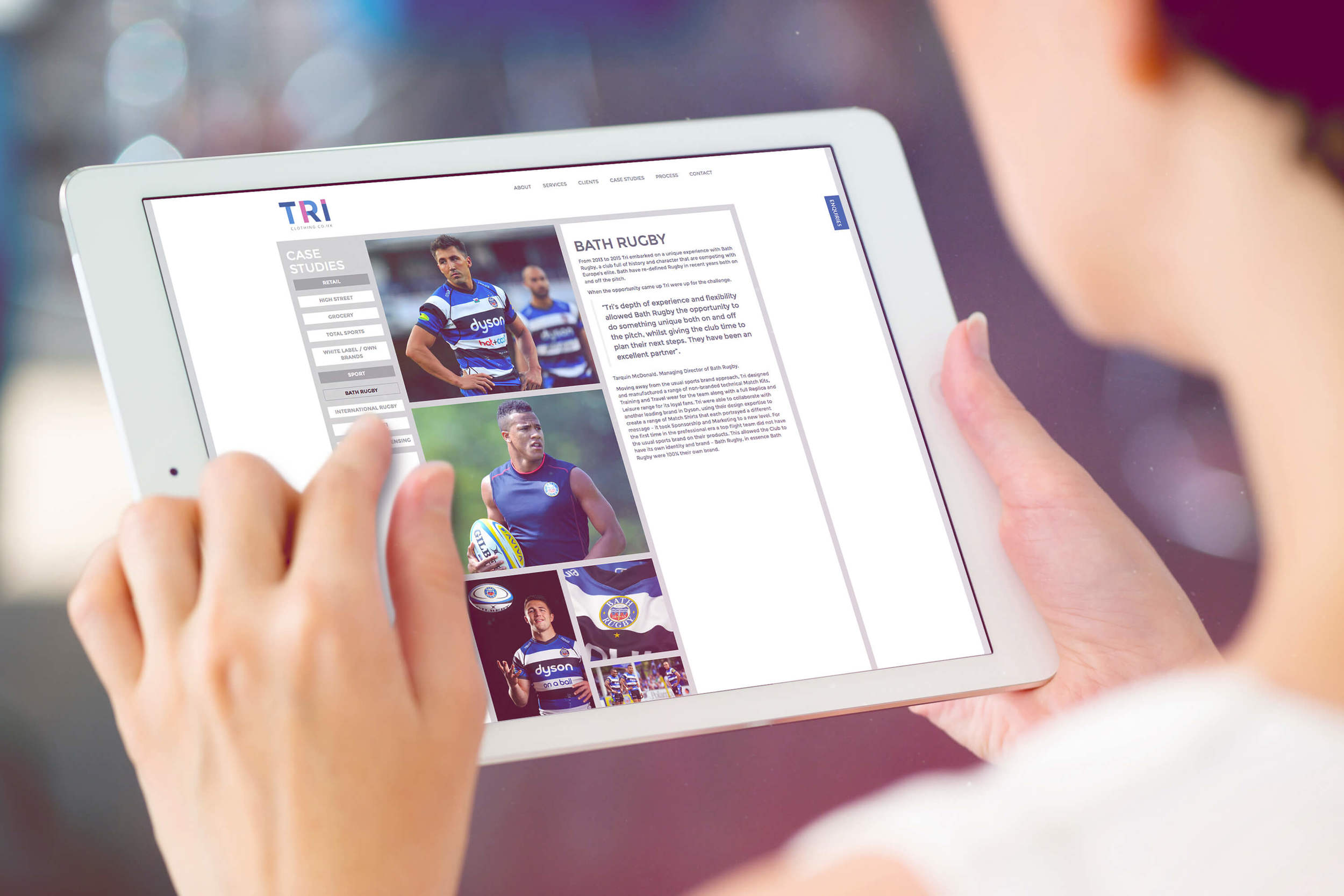 A visual of the new TRI Clothing website designed by Create Onsight based in the West Midlands
