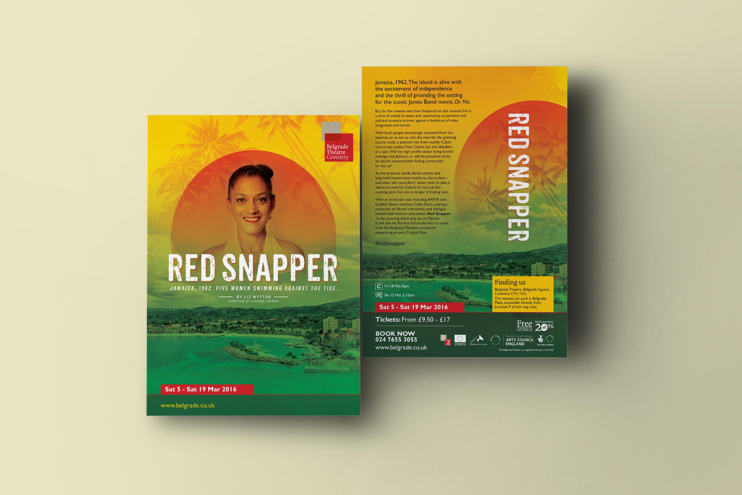Create Onsight design Red Snapper artwork for Belgrade theatre