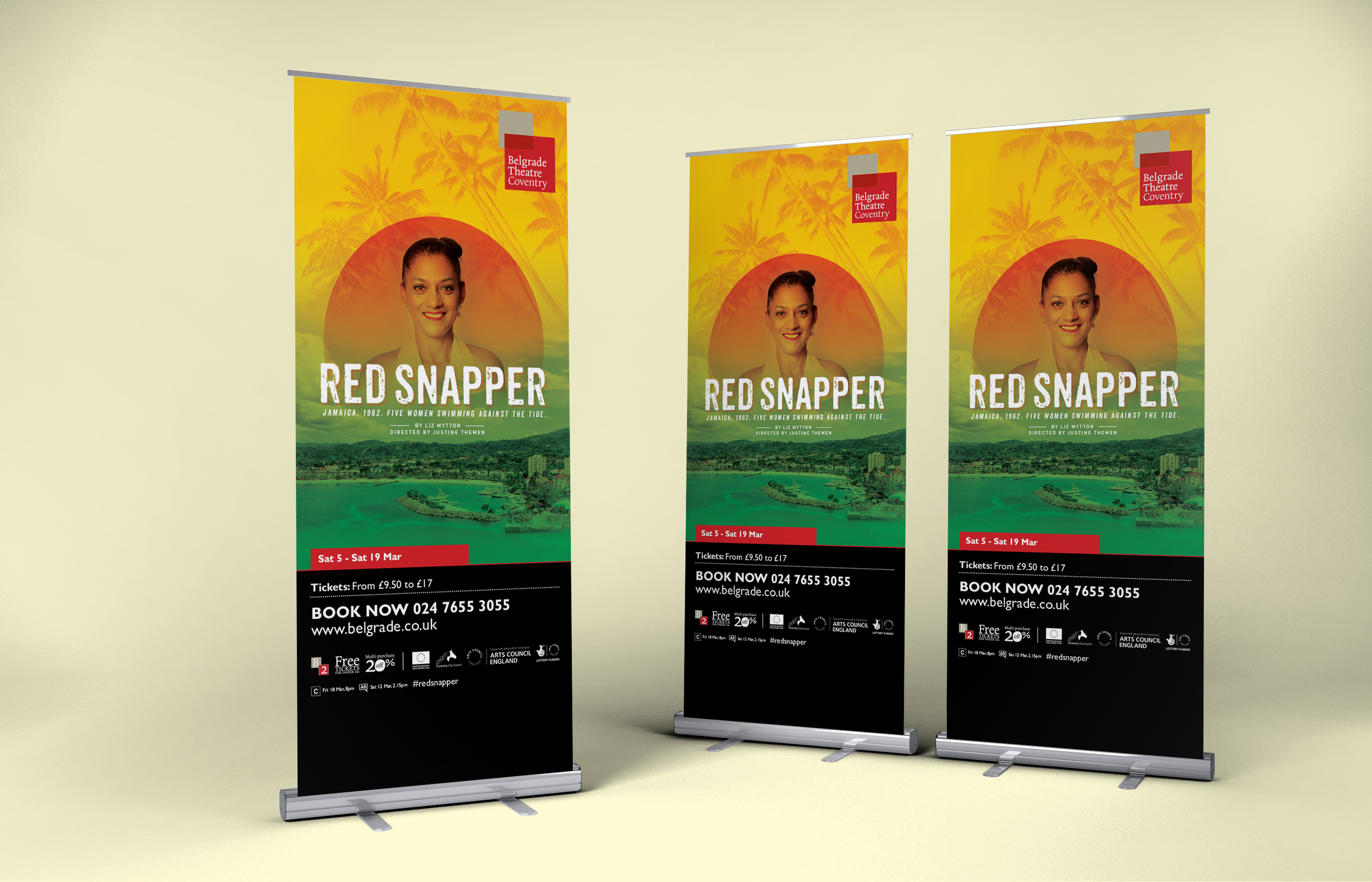 Red Snapper banner stand design for Belgrade Theatre, coventry by Create Onsight