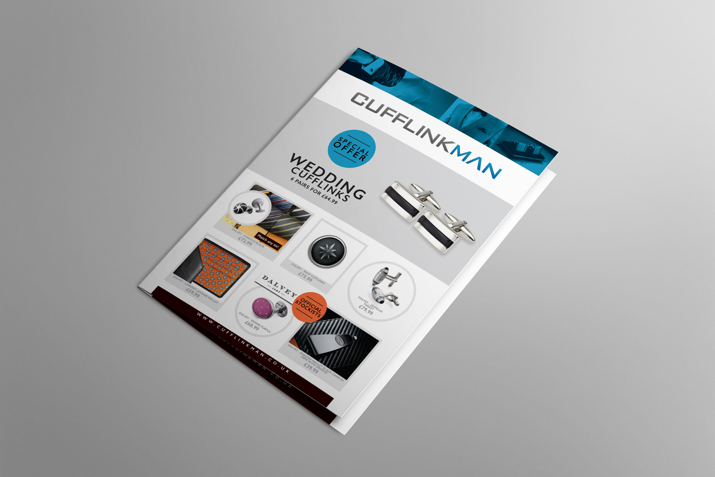 Cufflinkman leaflet graphic design
