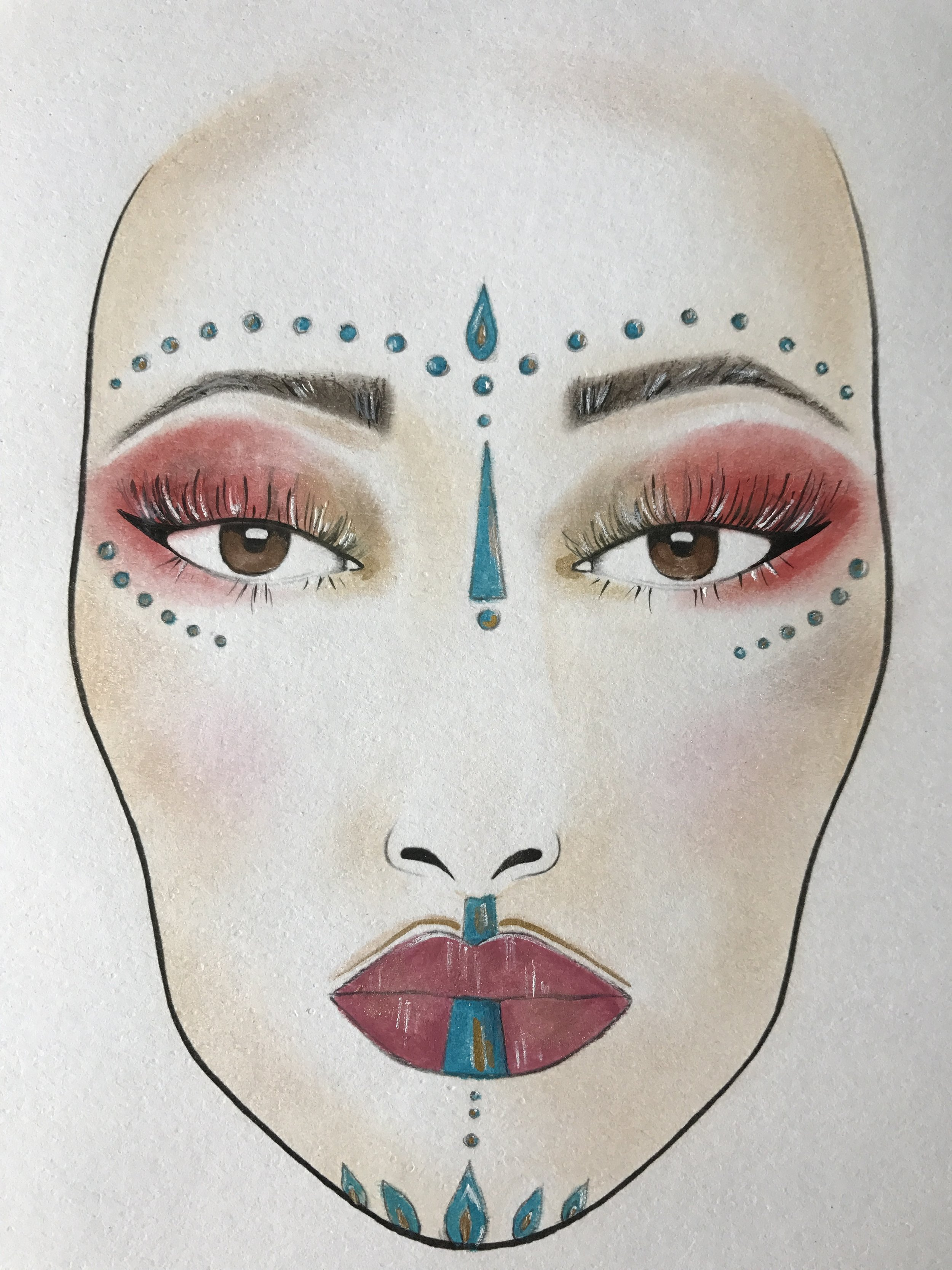 This was my Original face chart that I designed for the trial with Mumta, after discussing with her what her vision was. We tweaked it slightly for the actual day but it was a good place to start and such a lovely brief.
