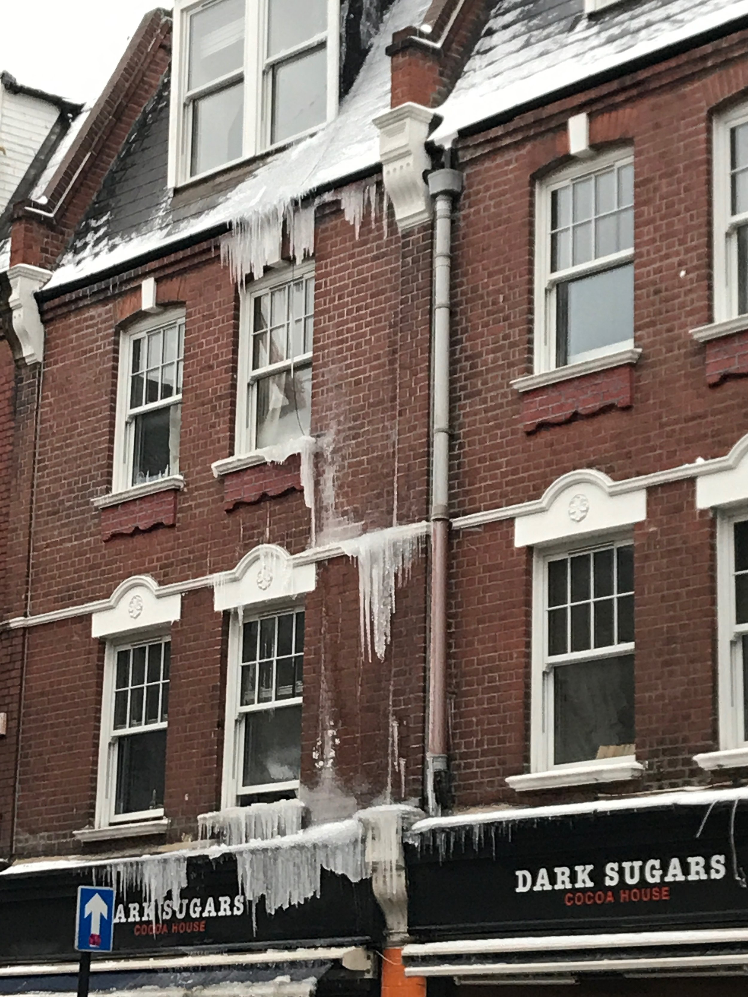 Icicles on a house in Brick Lane