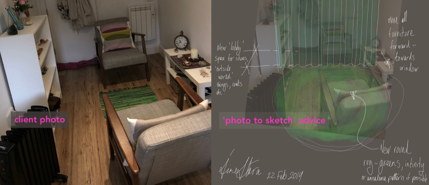 quick advice - 'photo to sketch' based interiors advice