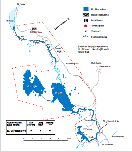 Karta för Bergsjöns fiskevårdsområde.