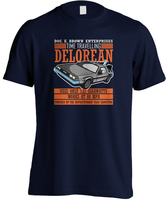Back to the Future - Doc E Brown Enterprises Time Travelling Delorean T-Shirt - £15.99 plus shipping -  click here
