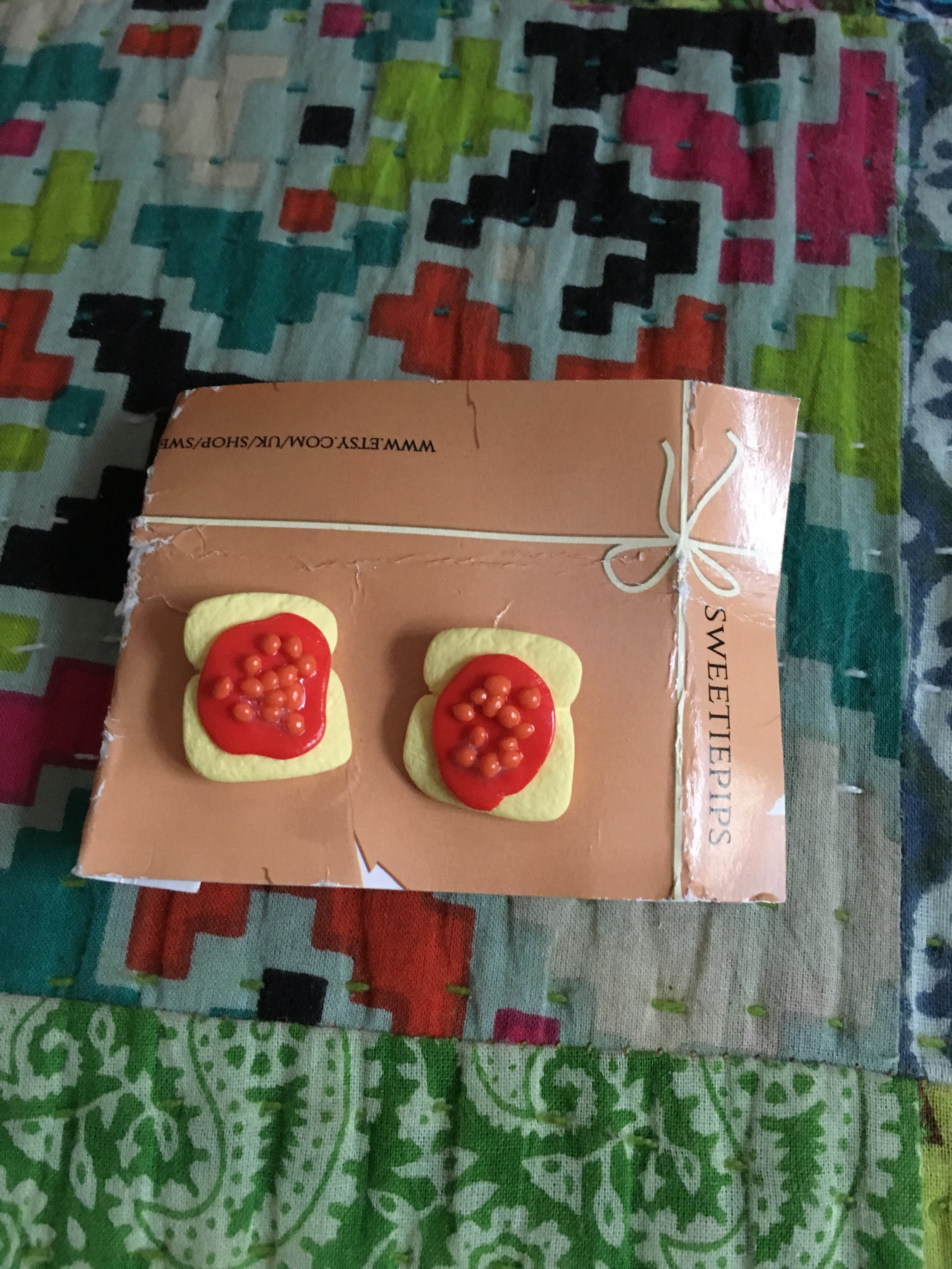 Day 2 - pair of baked beans on toast earrings from Sweetpips