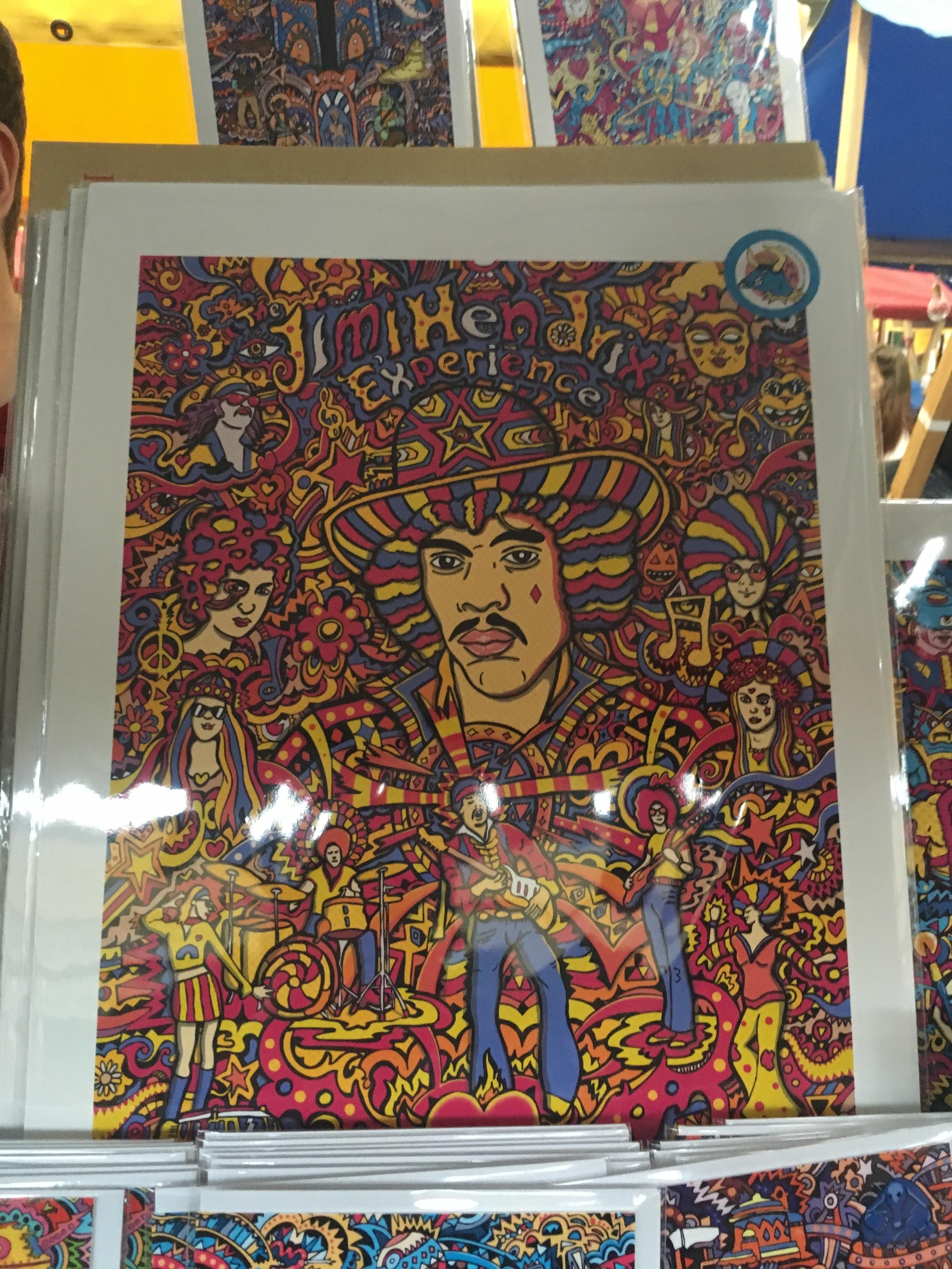 Cool Hendrix print by Manic Minotaur   Brighton Etsy Christmas Fair at Brighton Open Market