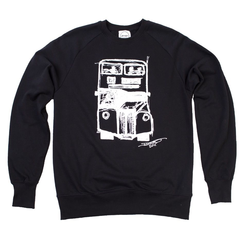 David Tovey Bus Organic Sweatshirt  £50 - 15% of the sale goes to ex-homeless artist and activist David Tovey's chose charity Clothing The Homeless
