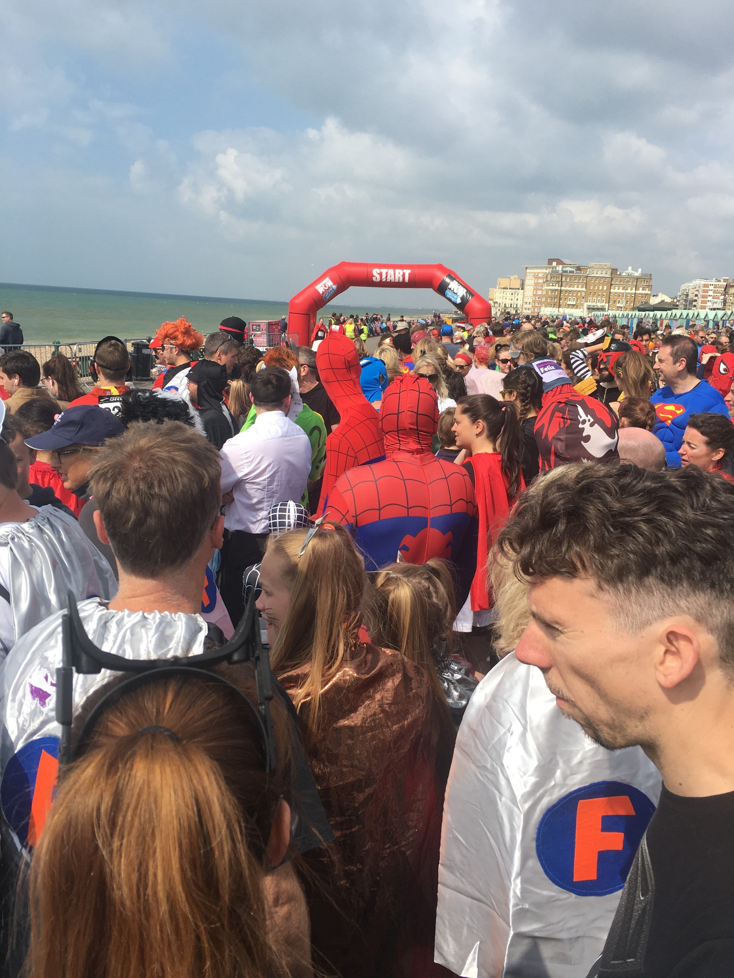 The line up before the start of the Heroes Run on Hove Lawns