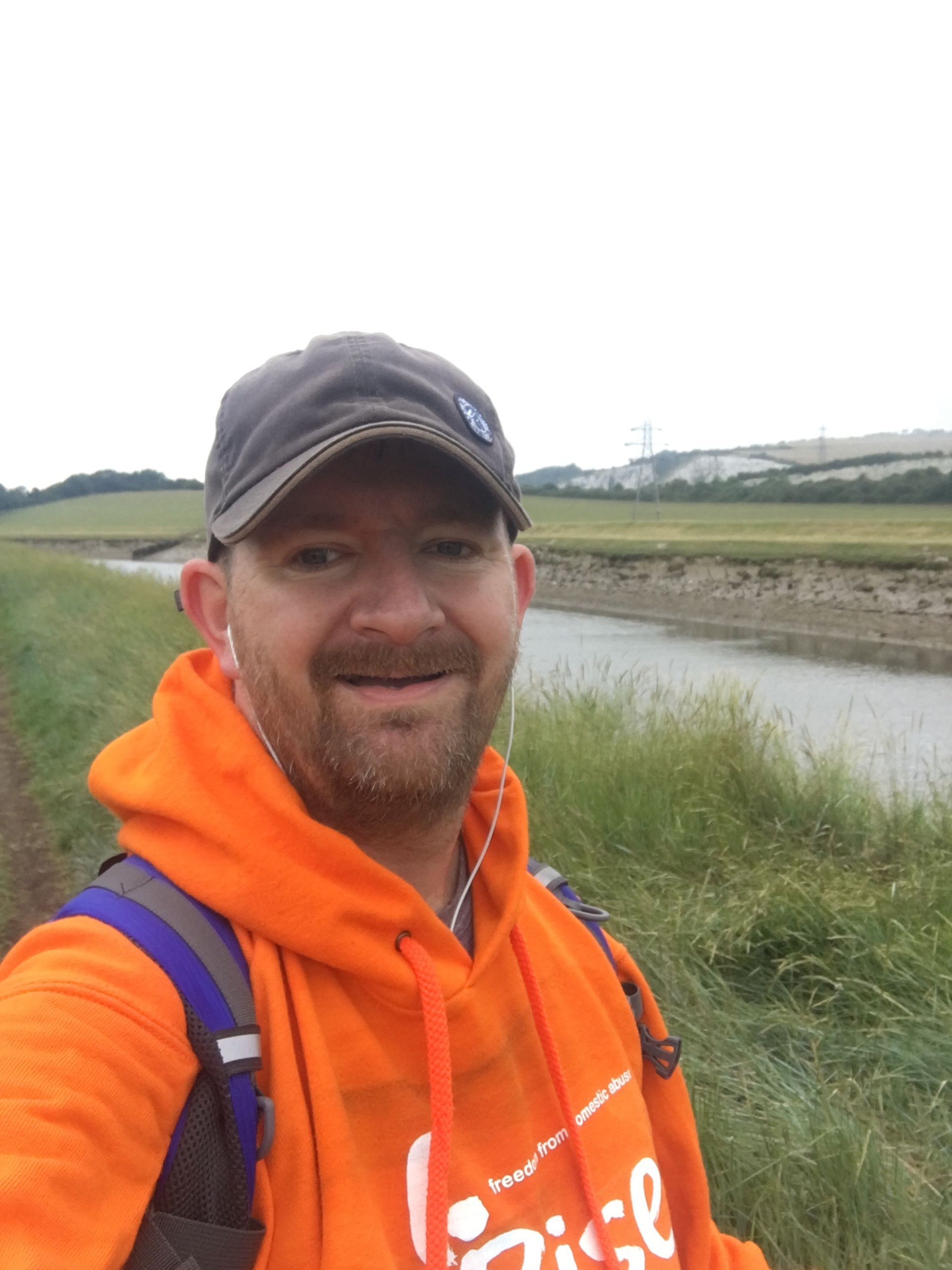 Me in my RISE hoodie walking from Lewes to Newhaven along the river
