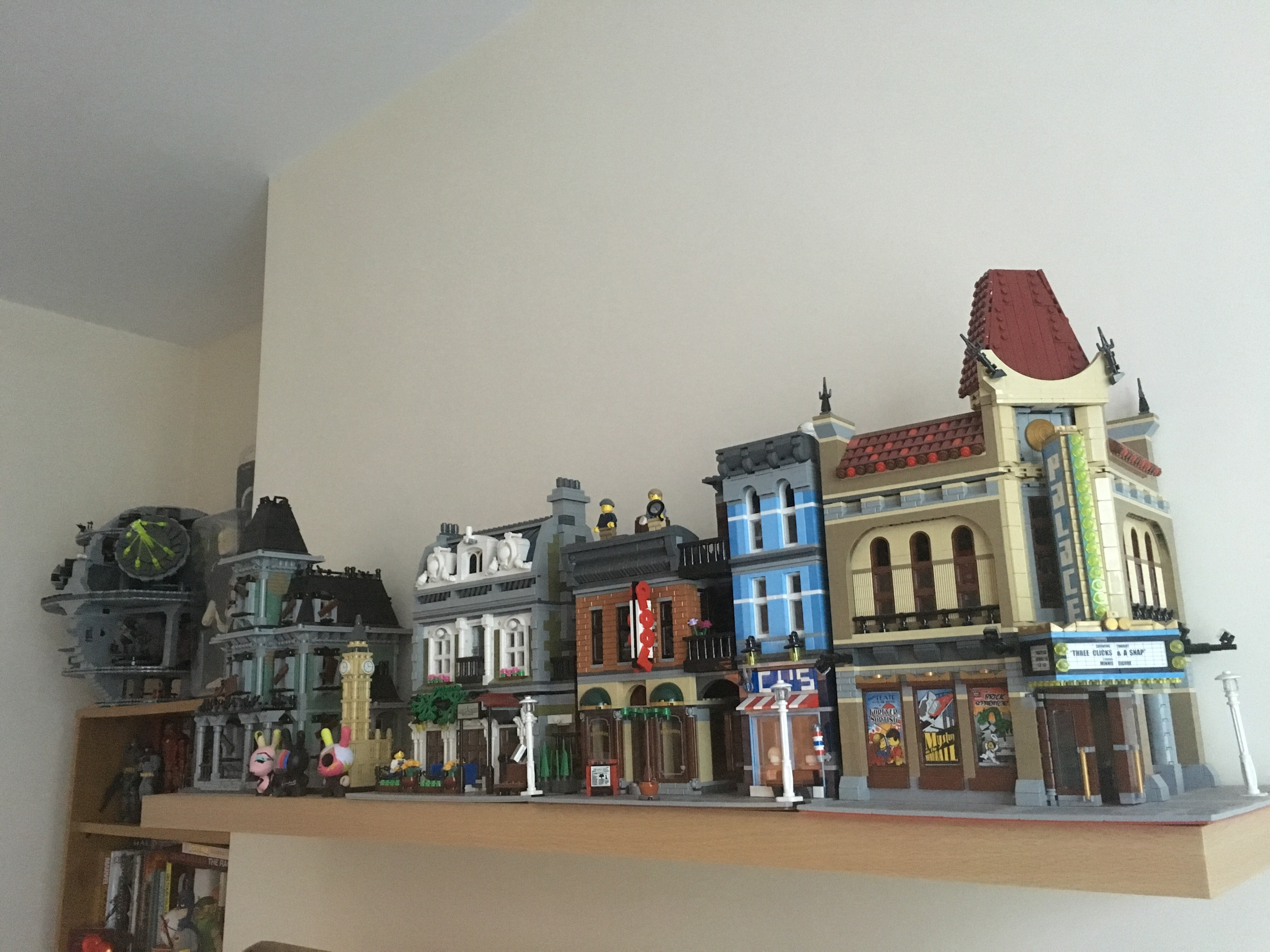 My Lego display above the TV which I have changed this week