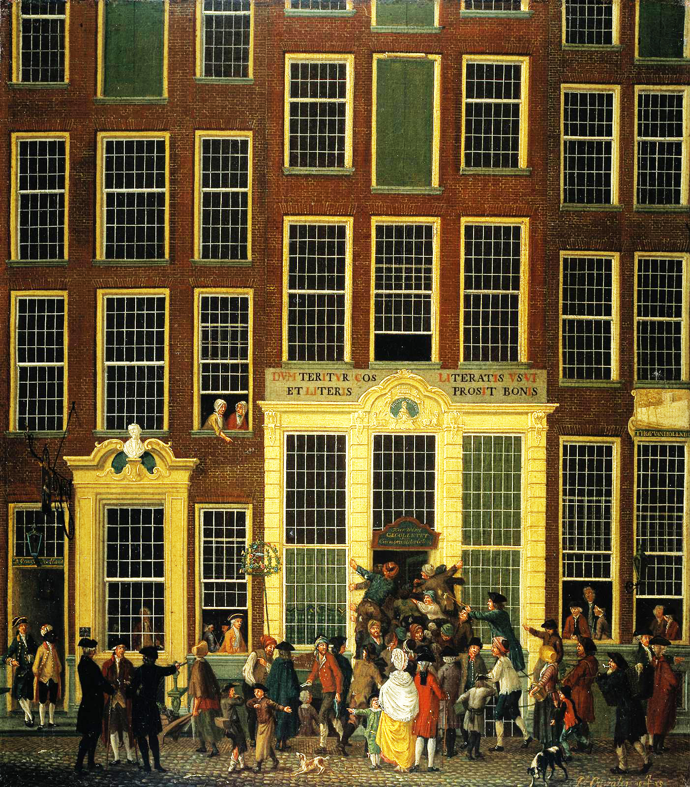 Isaak Ouwater,  The Bookshop and Lottery Agency of Jan de Groot on Kalverstraat in Amsterdam  (1779).