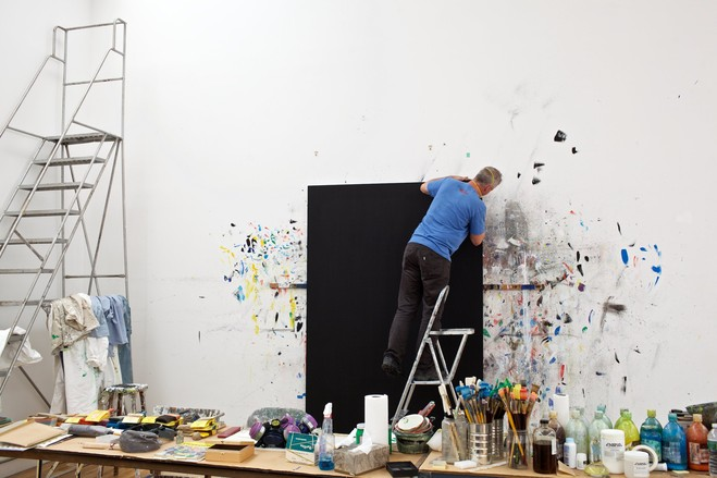 Nick Walters, the studio manager of Ellsworth Kelly, at work.
