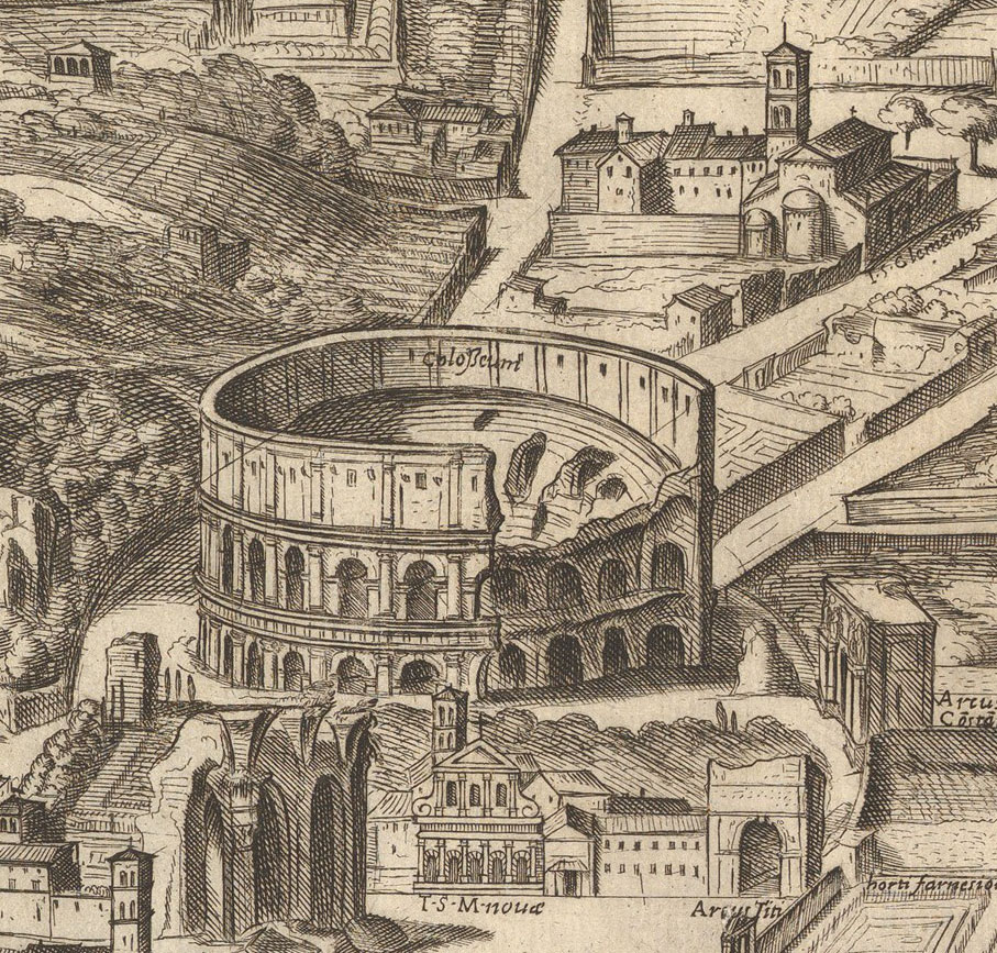 Antonio Tempesta, detail from  Plan of the City of Rome  dedicated to Cardinal Camillo Pamphilii (1645).