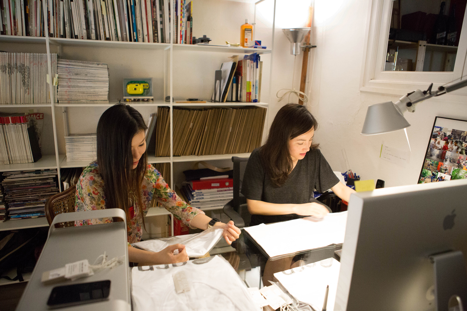 Talia Baker and Sanho Jin working on the spring summer 2015 Bornholm collection