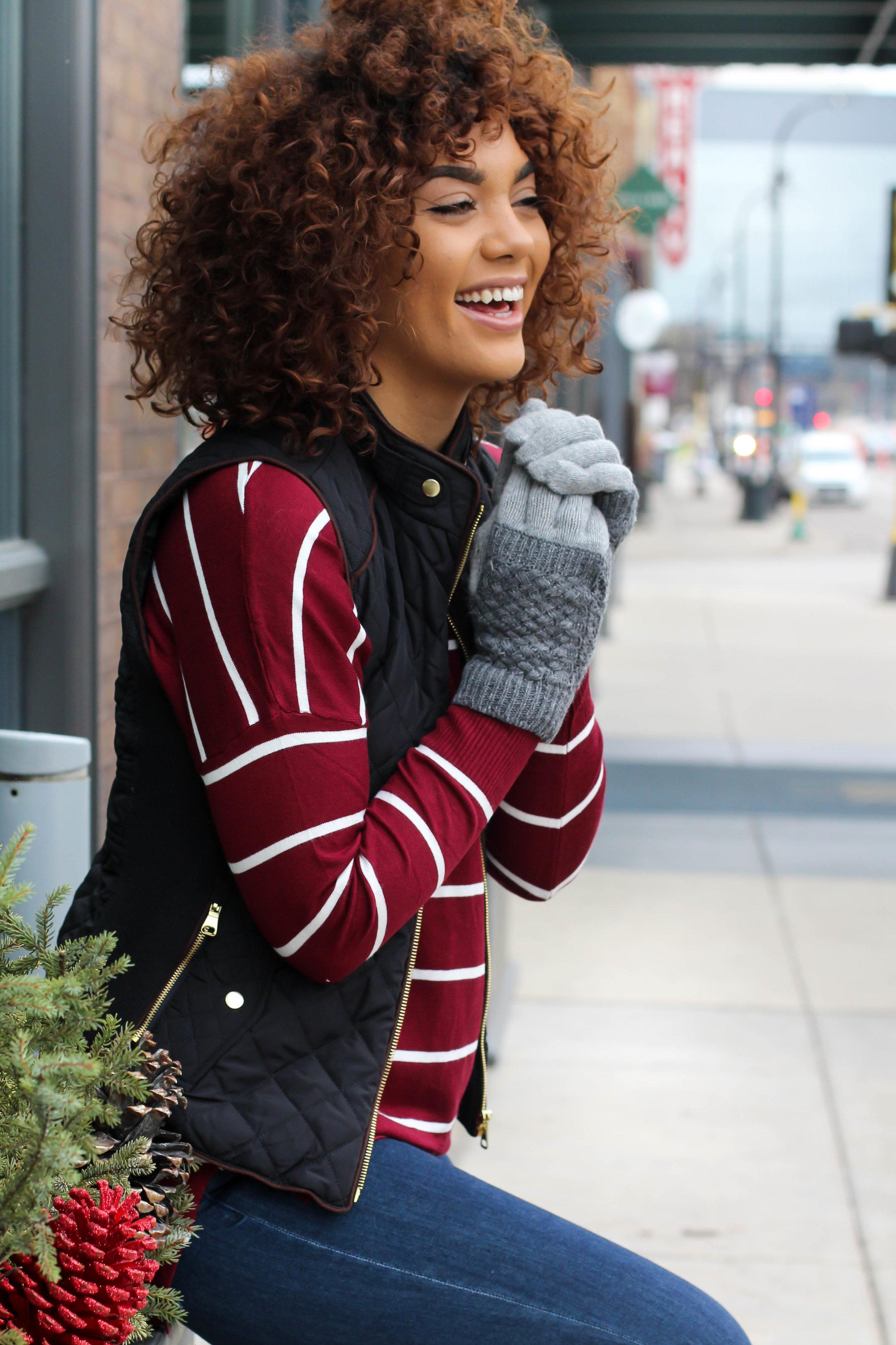sweater $42 ,  Vest $42 ,  mittens $14