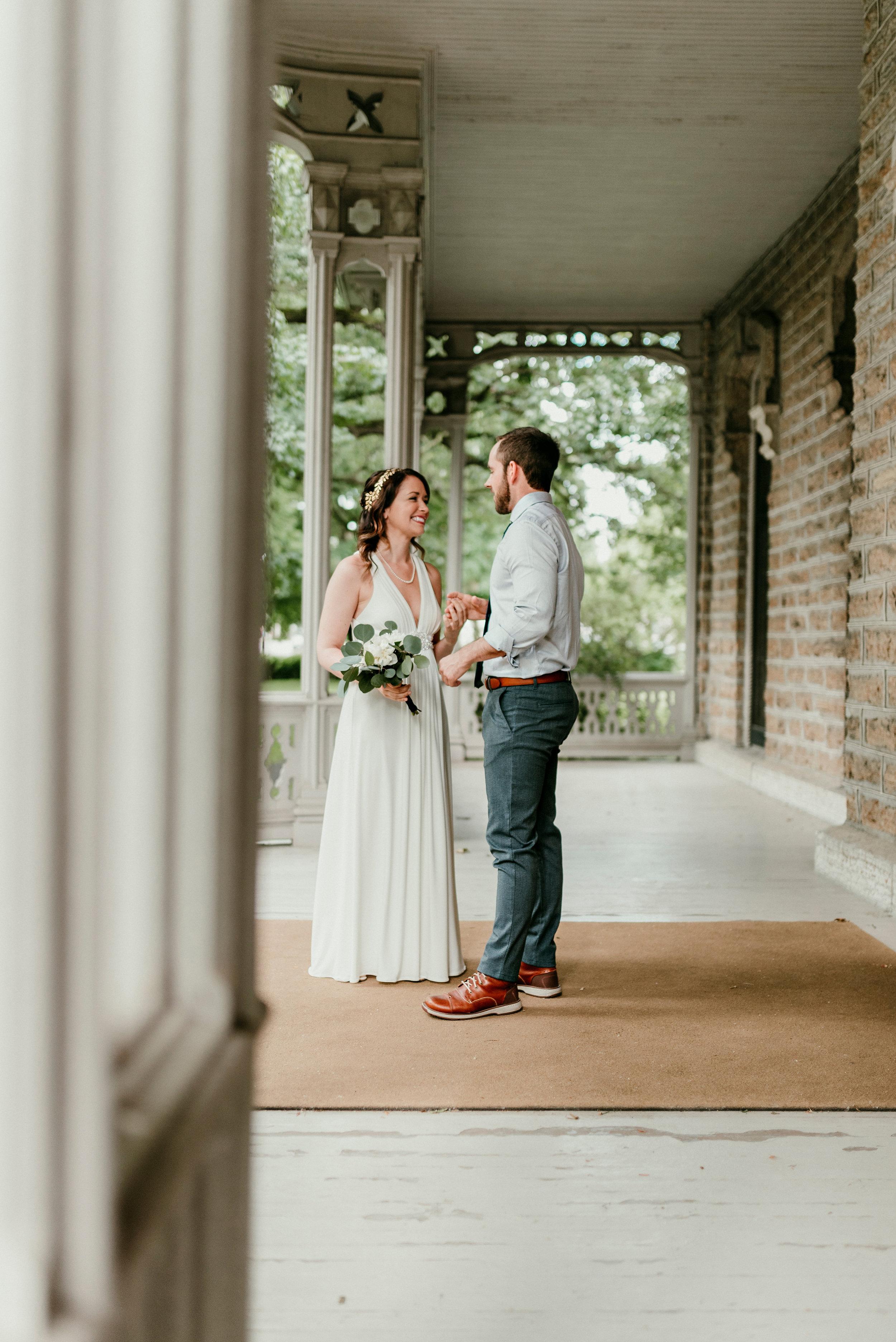 a peek at bride and groom