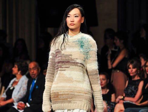 Knitwear by Anne Guitteau for Elizabeth Crum on the runway at New York Fashion Week