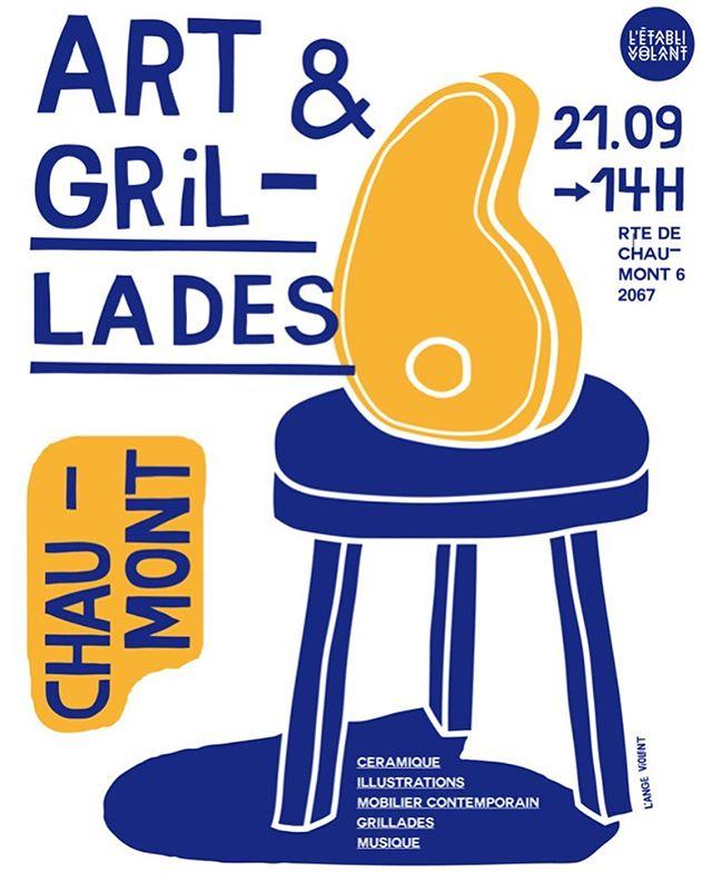 Bientôt en Suisse chez @letablivolant pour un samedi pas comme les autres! 🙌Art&Grillades #toutestdit . #ceramiques #illustrations #mobiliercontemporain #musique #grillades #chaumont #suisse