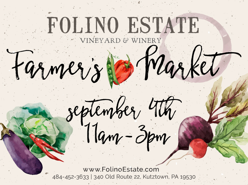 Farmer's Market    Sunday, September 4th from 11:00am to 3:00pm   Live Music by Kyle and Chris from 1:00pm to 4:00pm    Vendor list to follow!
