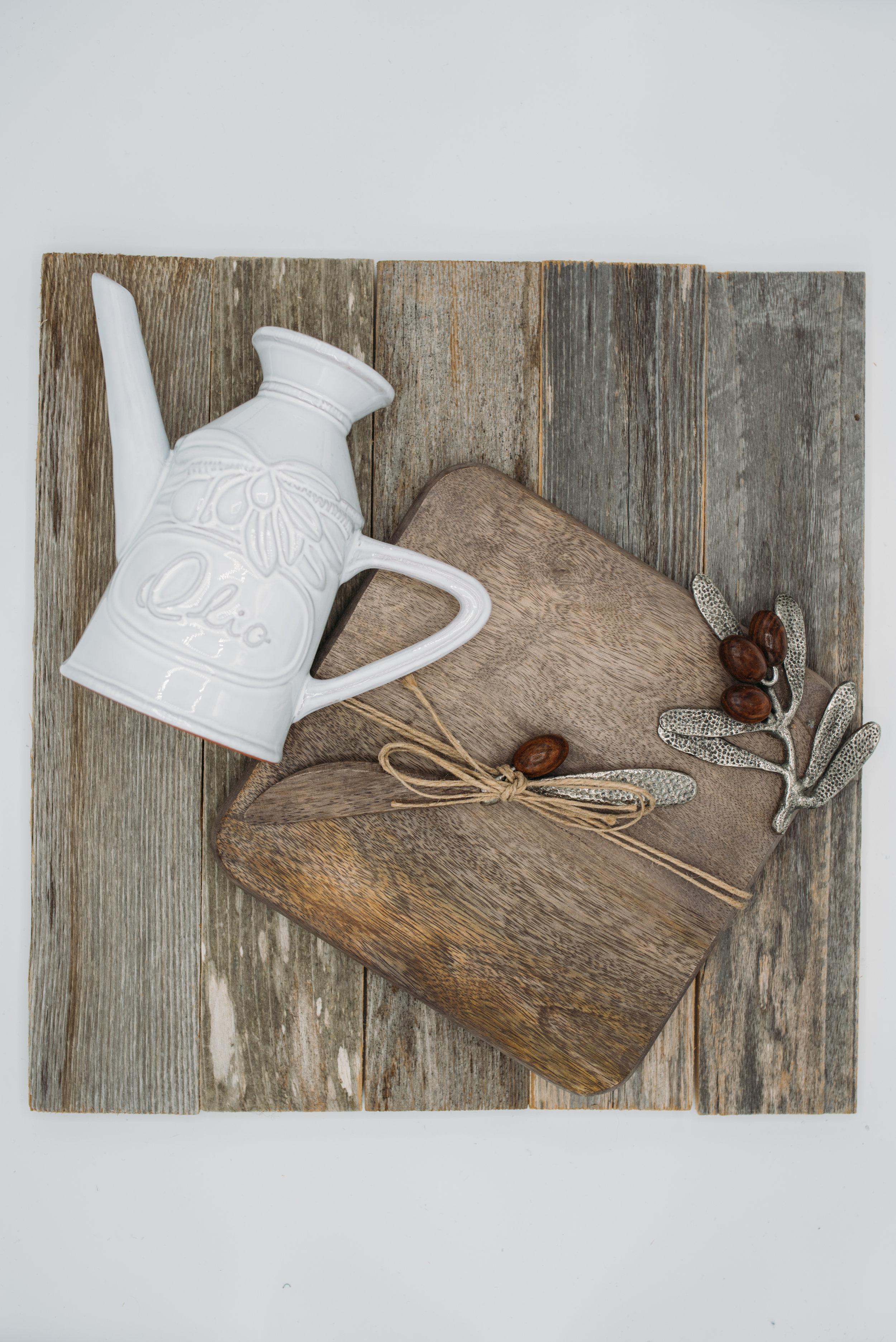 """Ceramic Olive Oil Pourer -$18.95 """"Olive"""" Wooden Cutting Board Set -$30.95"""