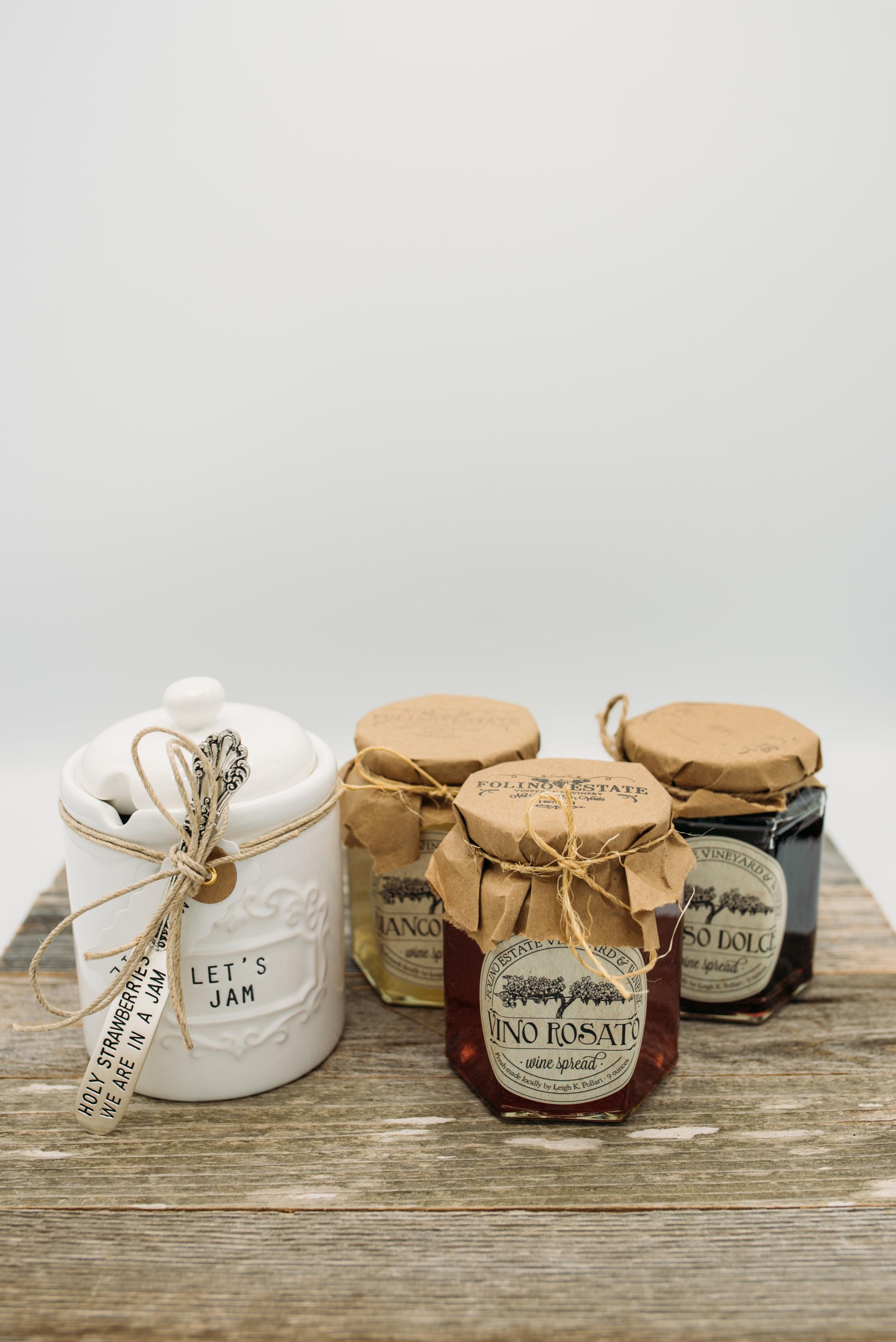 Ceramic Jam Jar -$20.95 Assorted Wine Jams -$14.95 each