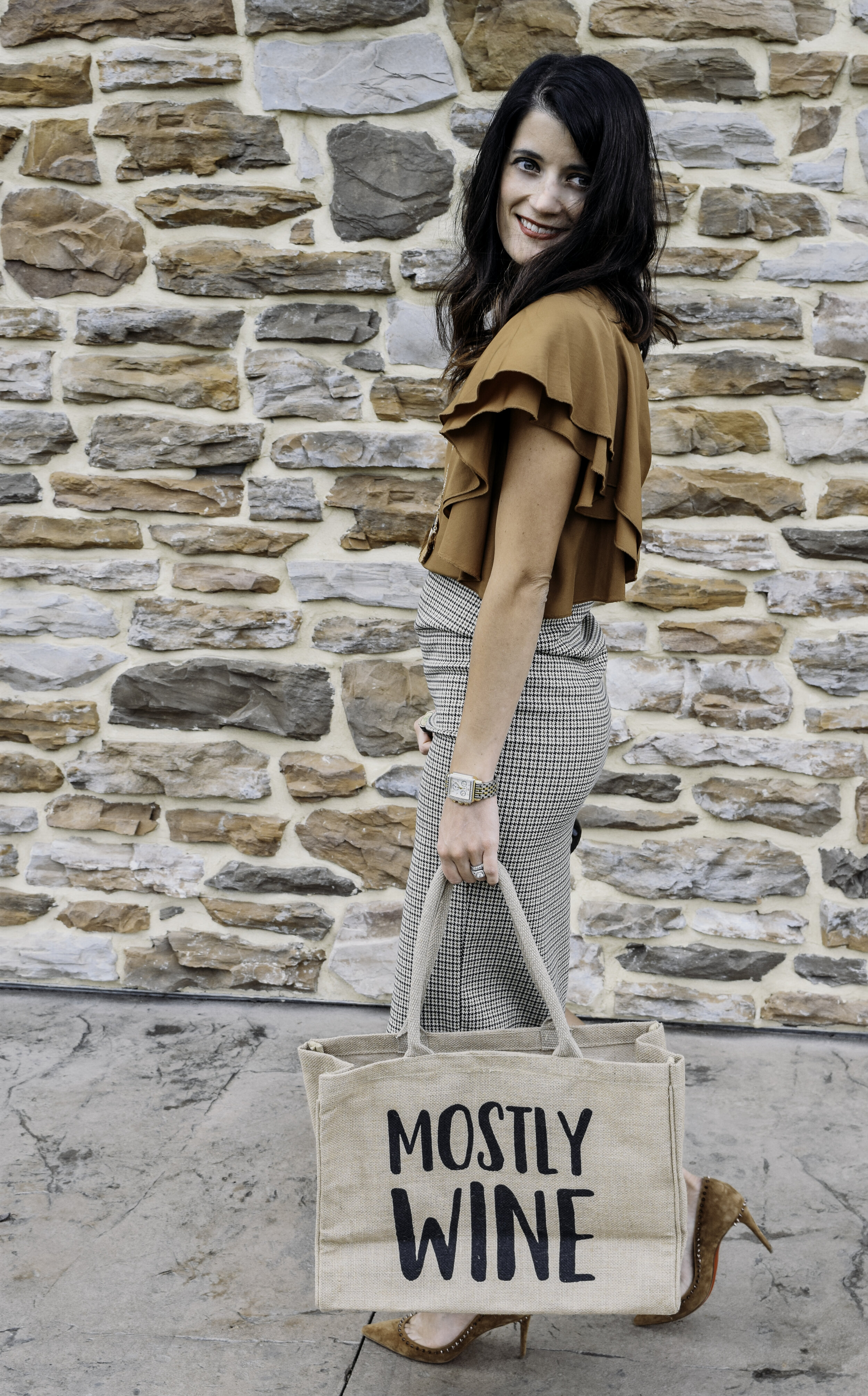 "Andrea sporting our new  ""Mostly Wine"" tote"