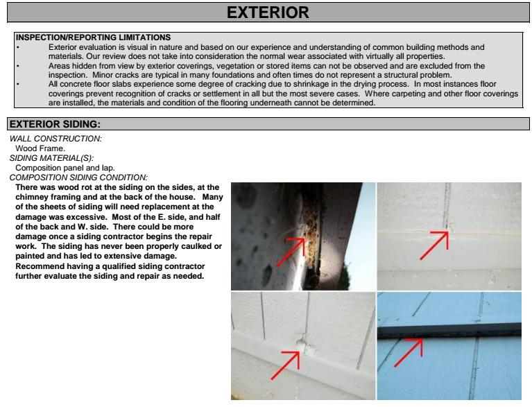 Screenshot from Inspection Report