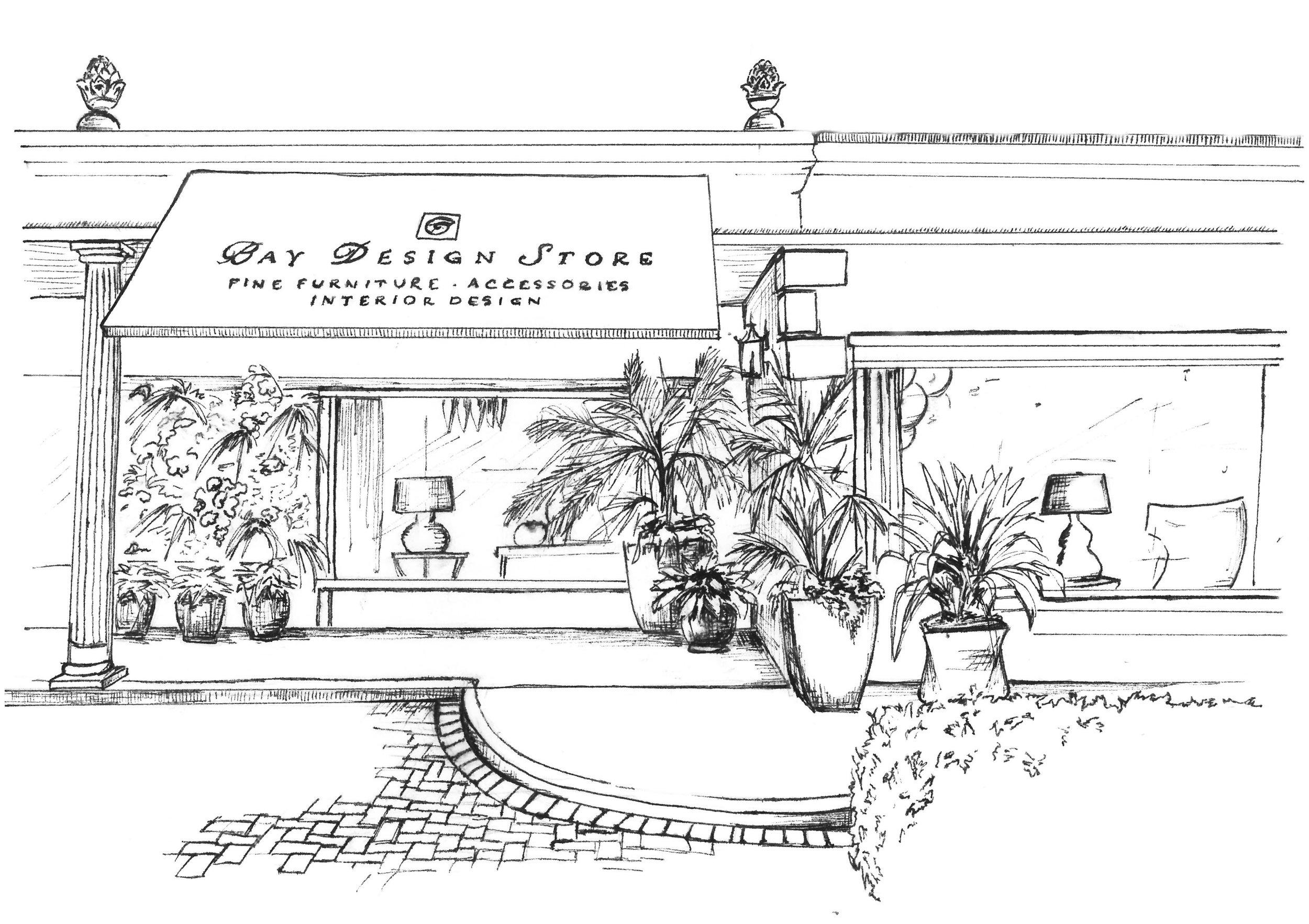 Store Drawing by Charlotte Fernlund - No roof darker web.jpg