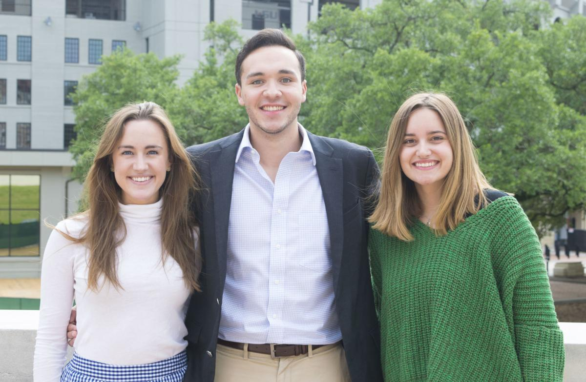 Geaux Vote members Rachel Campbell, Louis Gremillion and Zoe Williamson (left to right) meet at the Journalism building to discuss TurboVote, a new voting application on Monday, April 9, 2018.