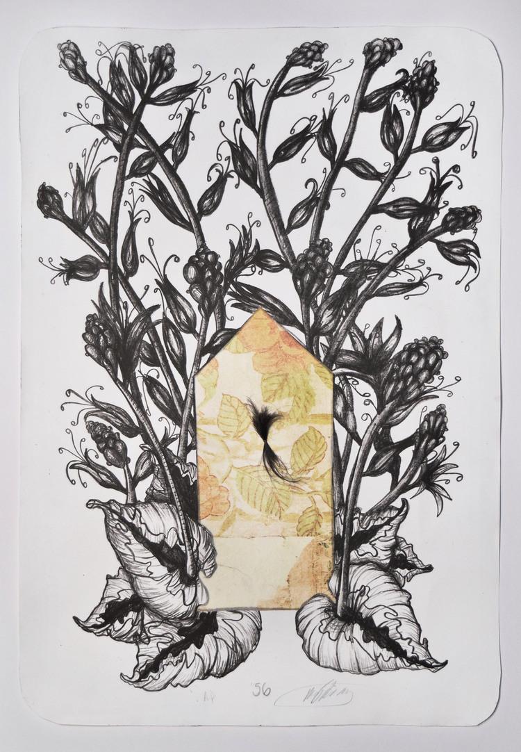 56    Crayon lithograph, chine-collé, photo transfer, thread, hair - A.P.  17 x 24 in.  2015