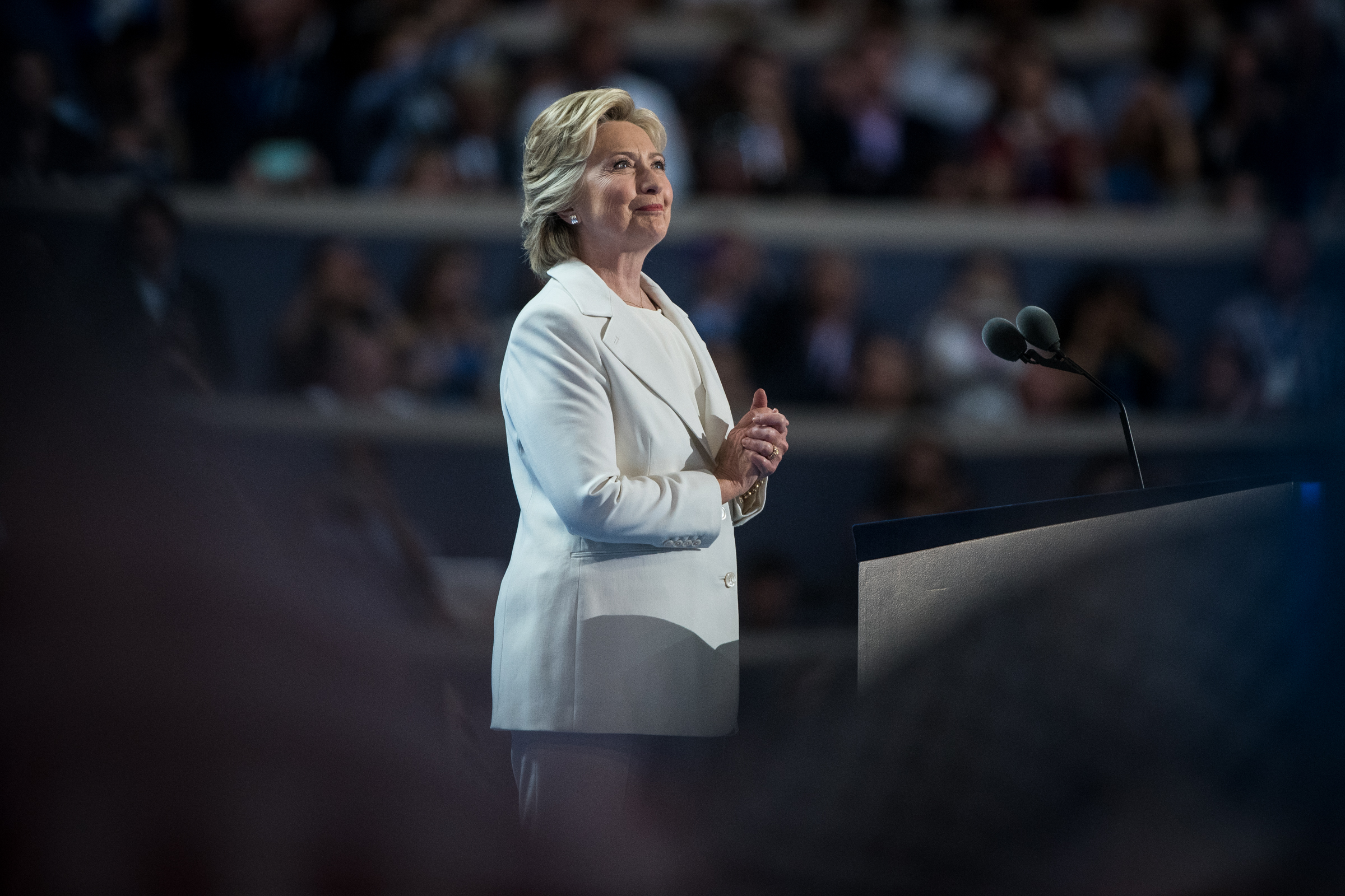 Democratic presidential nominee Hillary Clinton greets the delegates at the Democratic National Convention inside the Wells Fargo Center in Philadelphia on Thursday July 28, 2016. (Michael Ares /Philadelphia Inquirer)
