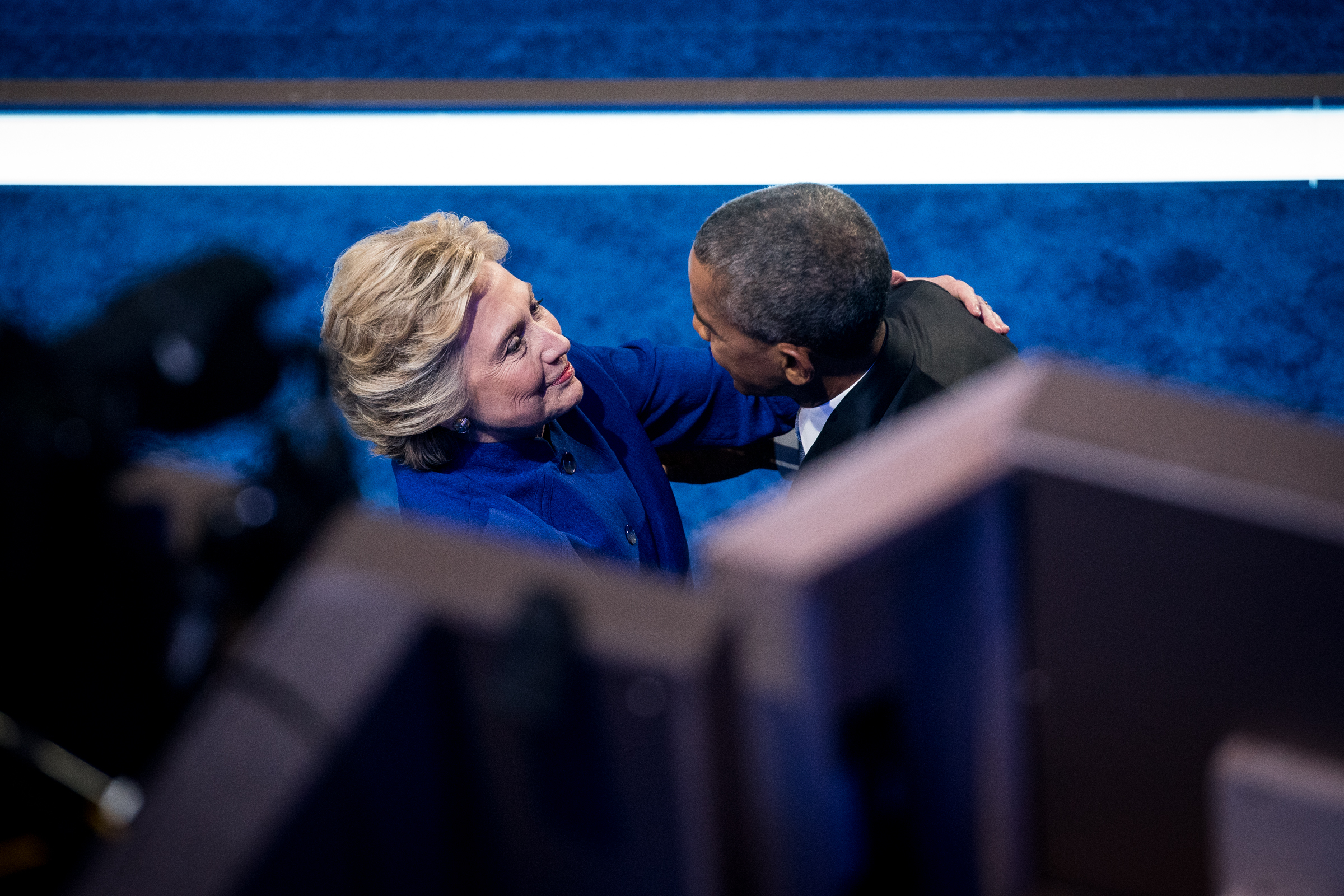 Democratic presidential nominee Hillary Clinton embraces President Barack Obama after his speech during the Democratic National Convention inside the Wells Fargo Center in Philadelphia on Wednesday July 27, 2016. (Michael Ares /Philadelphia Inquirer)