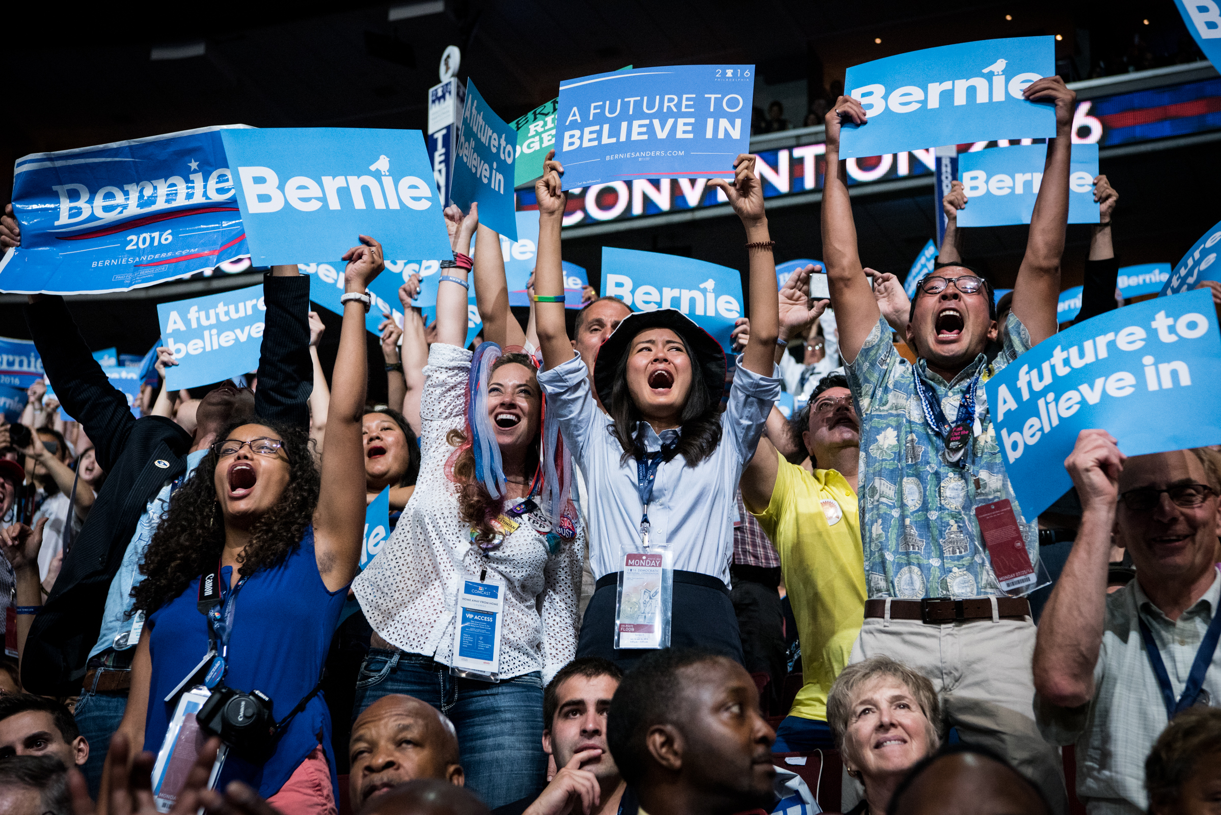 Delegates at the Democratic National Convention cheer for Senator Bernie Sanders, D-VT, as he approaches the stage at the Wells Fargo Center in Philadelphia on Monday, July 25, 2016. (Michael Ares / Philadelphia Inquirer)