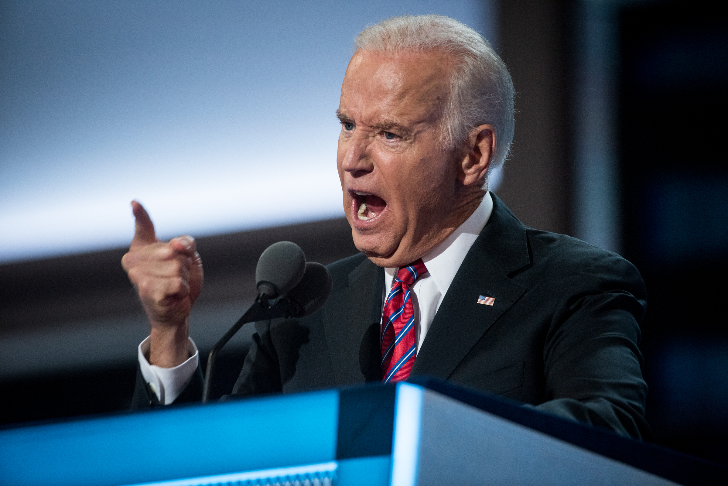 Vice President Joe Biden addresses the delegates at the Democratic National Convention inside the Wells Fargo Center in Philadelphia on Wednesday July 27, 2016. (Michael Ares /Philadelphia Inquirer)