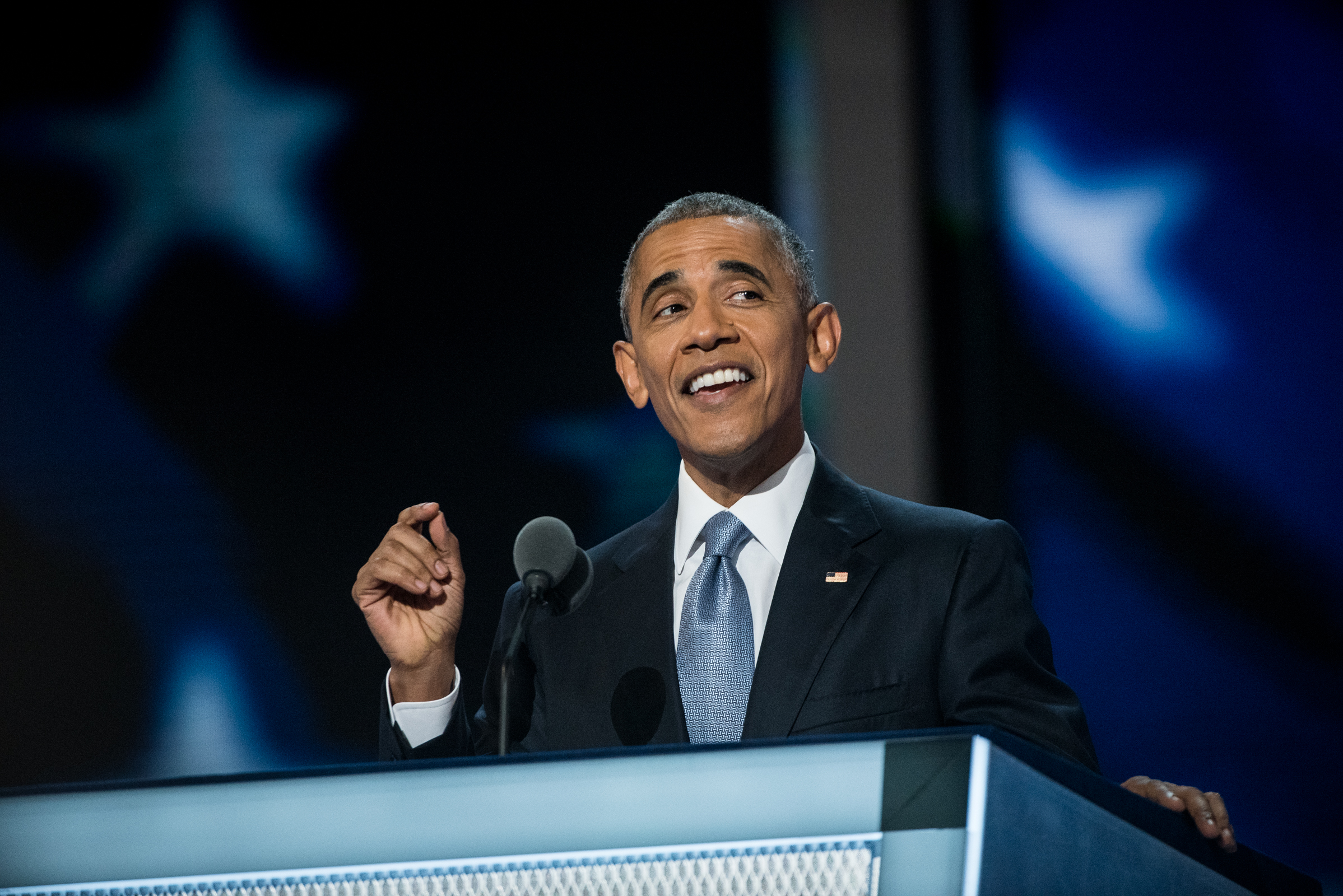 President Barack Obama addresses the delegates at the Democratic National Convention inside the Wells Fargo Center in Philadelphia on Wednesday July 27, 2016. (Michael Ares /Philadelphia Inquirer)