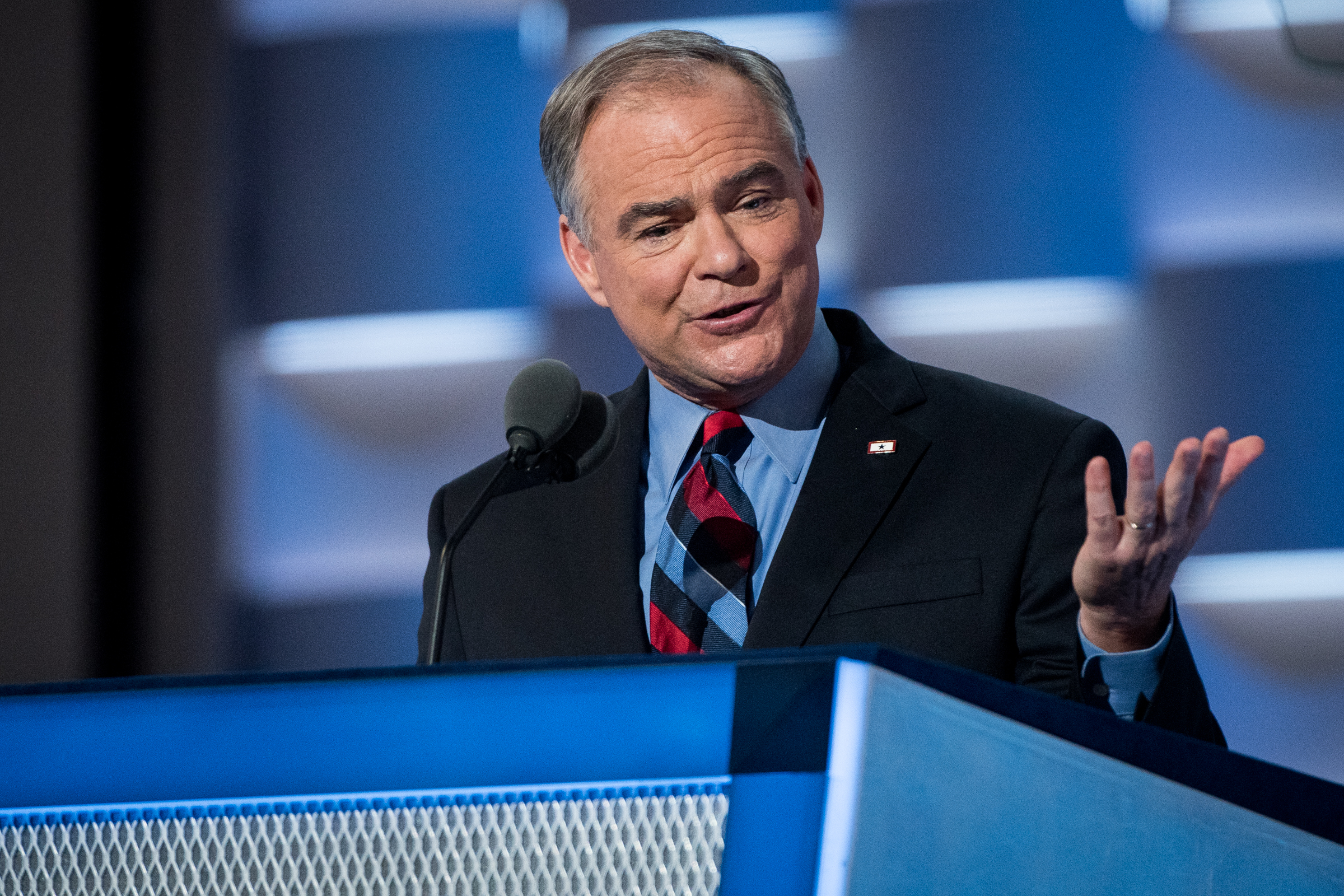 Democratic vice presidential candidate Senator Tim Kaine, D-VA, addresses the delegates at the Democratic National Convention inside the Wells Fargo Center in Philadelphia on Wednesday July 27, 2016. (Michael Ares / Philadelphia Inquirer)