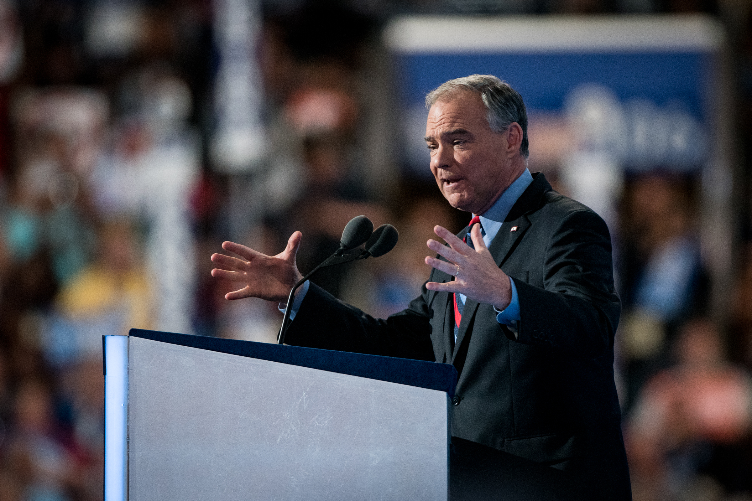 Democratic vice presidential candidate Senator Tim Kaine,D-VA,addresses the delegates at the Democratic National Convention inside the Wells Fargo Center in Philadelphia on Wednesday July 27, 2016. (Michael Ares /Philadelphia Inquirer)