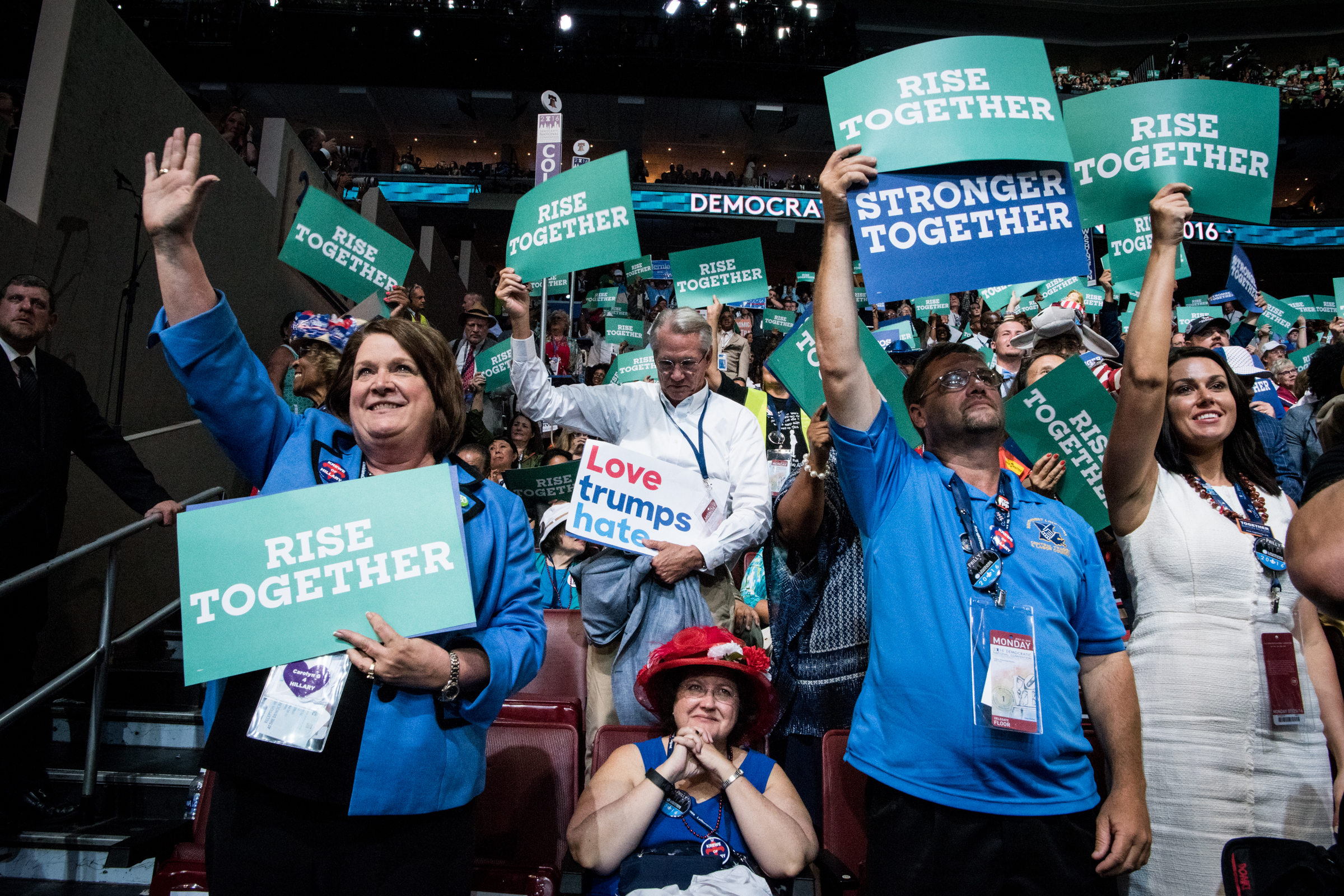 Delegates cheer as Senator Cory Booker, D-NJ, delivers his speech during the Democratic National Convention on Monday, July 25, 2016 at the Wells Fargo Center in Philadelphia. (Michael Ares / Philadelphia Inquirer)