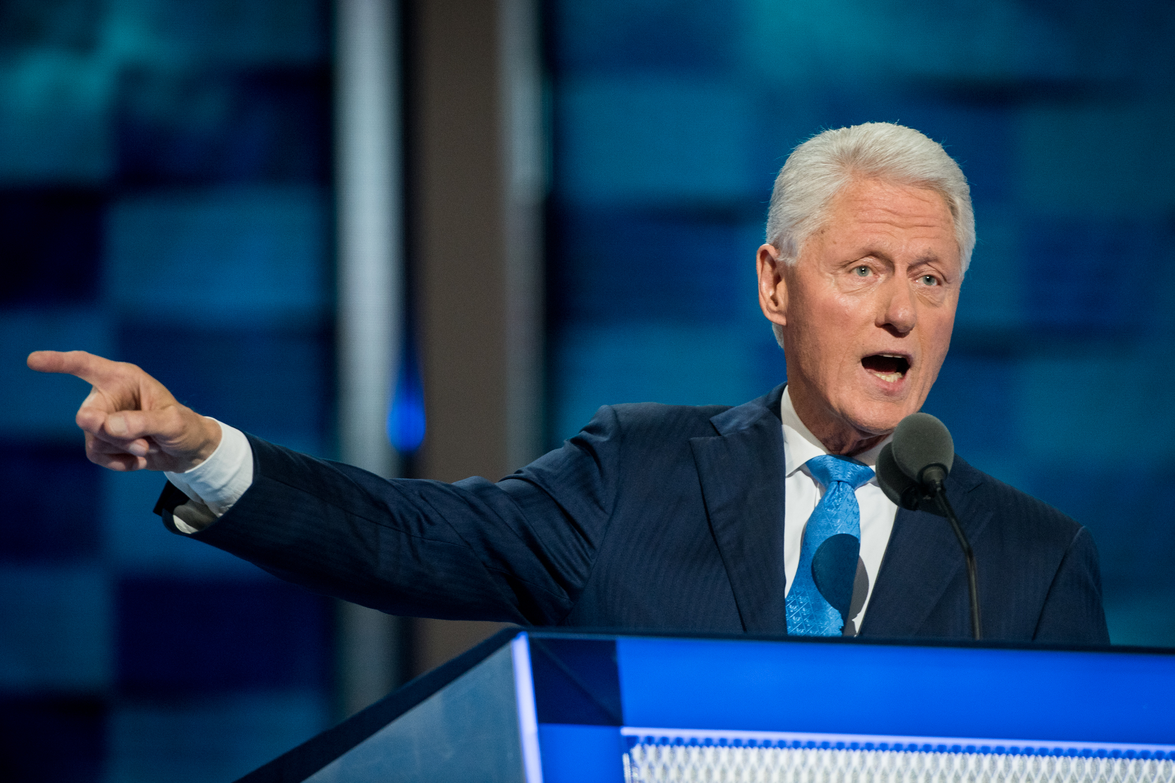Former president Bill Clinton addresses the delegates at the Democratic National Convention inside the Wells Fargo Center in Philadelphia on Tuesday July 26, 2016. (Michael Ares /Philadelphia Inquirer)