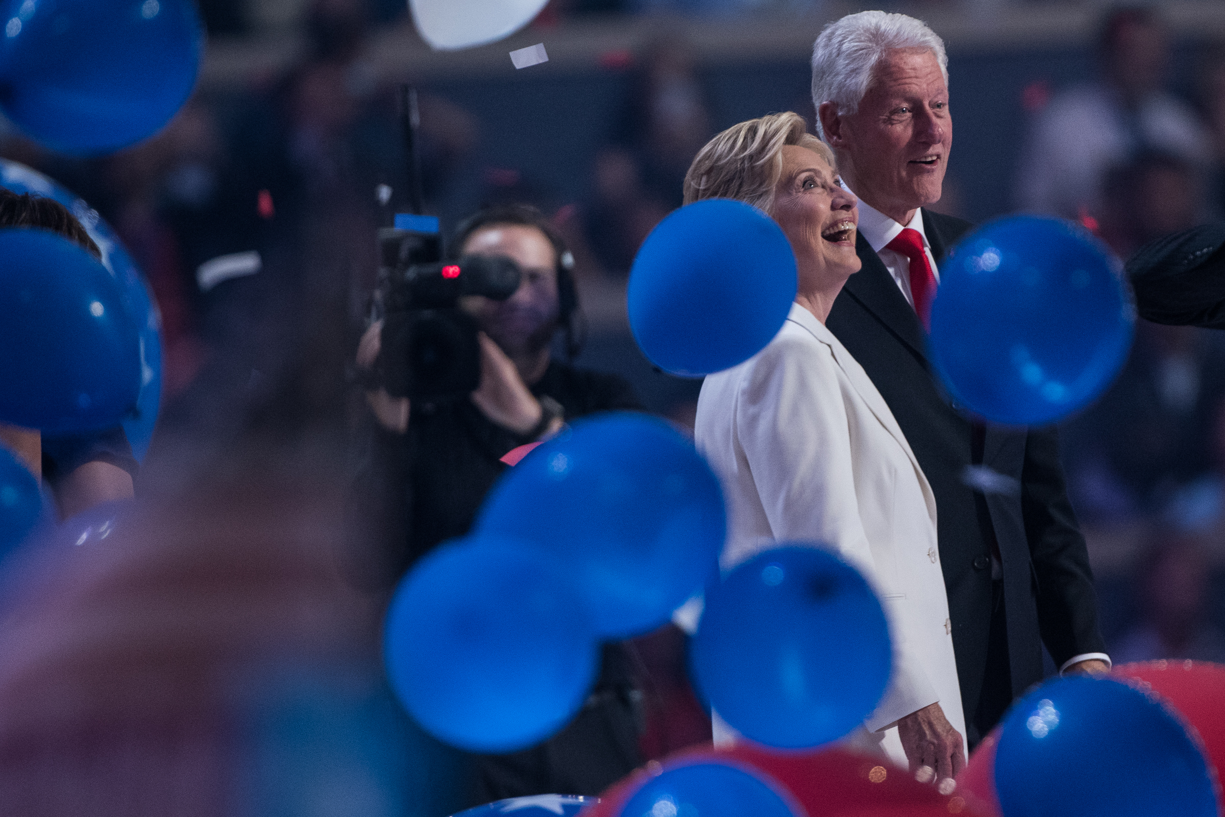 Democratic presidential nominee Hillary Clinton celebrates her party's nomination with former president Bill Clinton at the Democratic National Convention inside the Wells Fargo Center in Philadelphia on Thursday July 28, 2016. (Michael Ares / Philadelphia Inquirer)