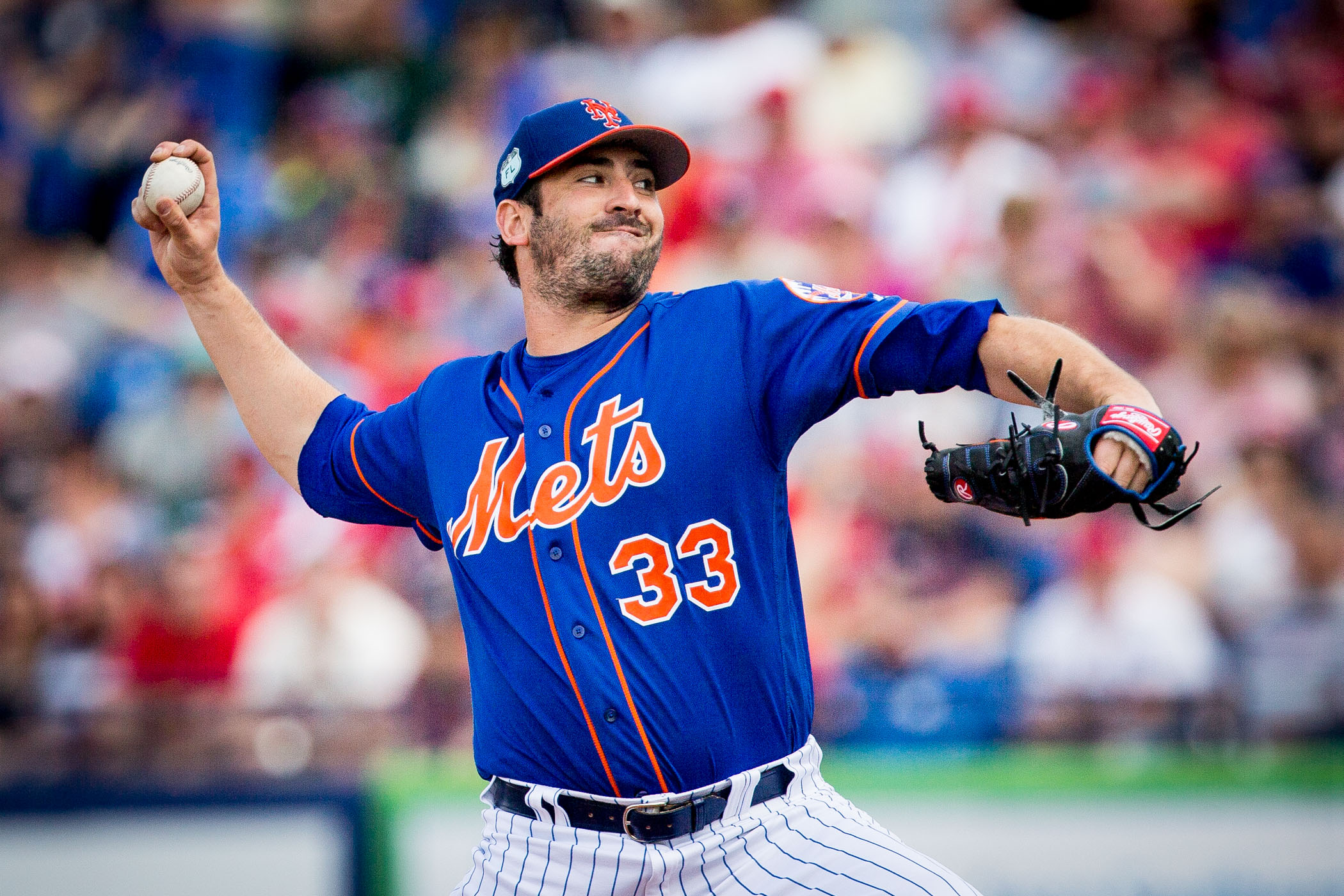 New York Mets pitcher Matt Harvey (33) throws a pitch in the top of the first inning against the St. Louis Cardinals during a spring training matchup inside First Data Field in Port St. Lucie, Fla., on Sunday, March 5, 2017. (Michael Ares for The New York Times)