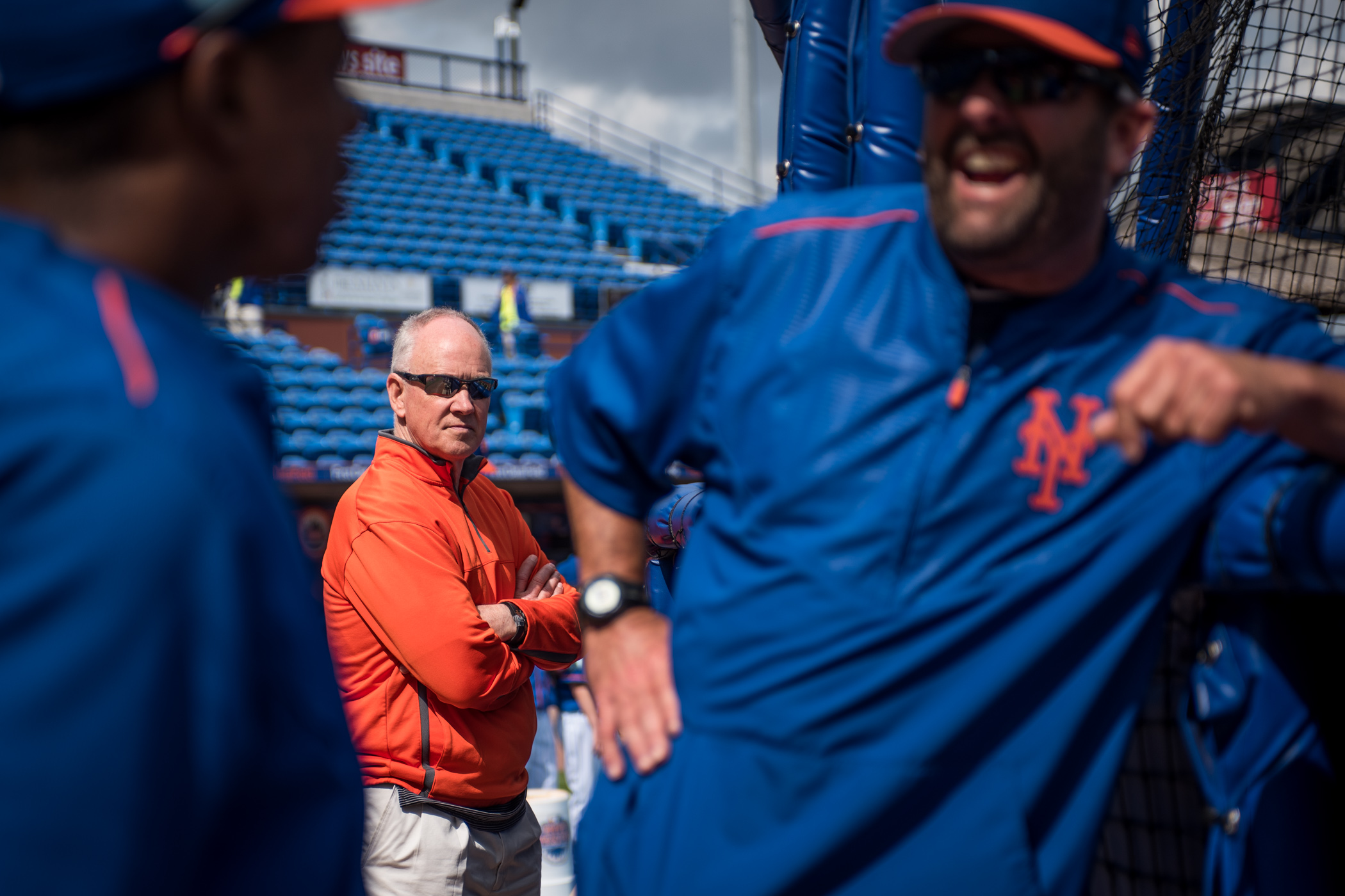 New York Mets General Manager Sandy Alderson watches the Mets during spring training batting practice inside First Data Field in Port St. Lucie, Fla., on Sunday, March 5. (Michael Ares for The New York Times)