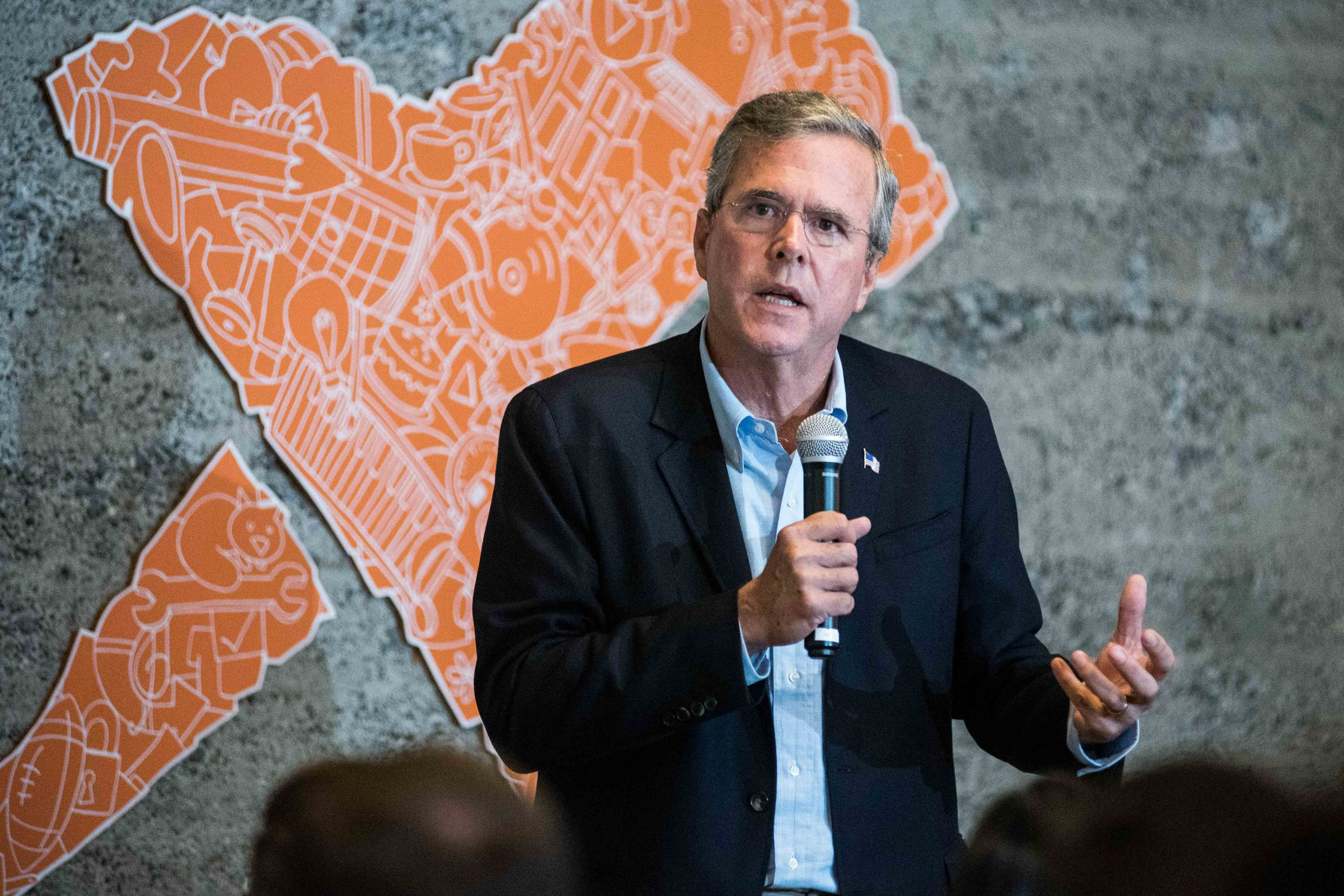 Republican presidential candidate and former Florida governor Jeb Bush speaks to workers at Thumbtack on Thursday, July 16, 2015 in San Francisco. (Michael Ares/Special to the S.F. Examiner)
