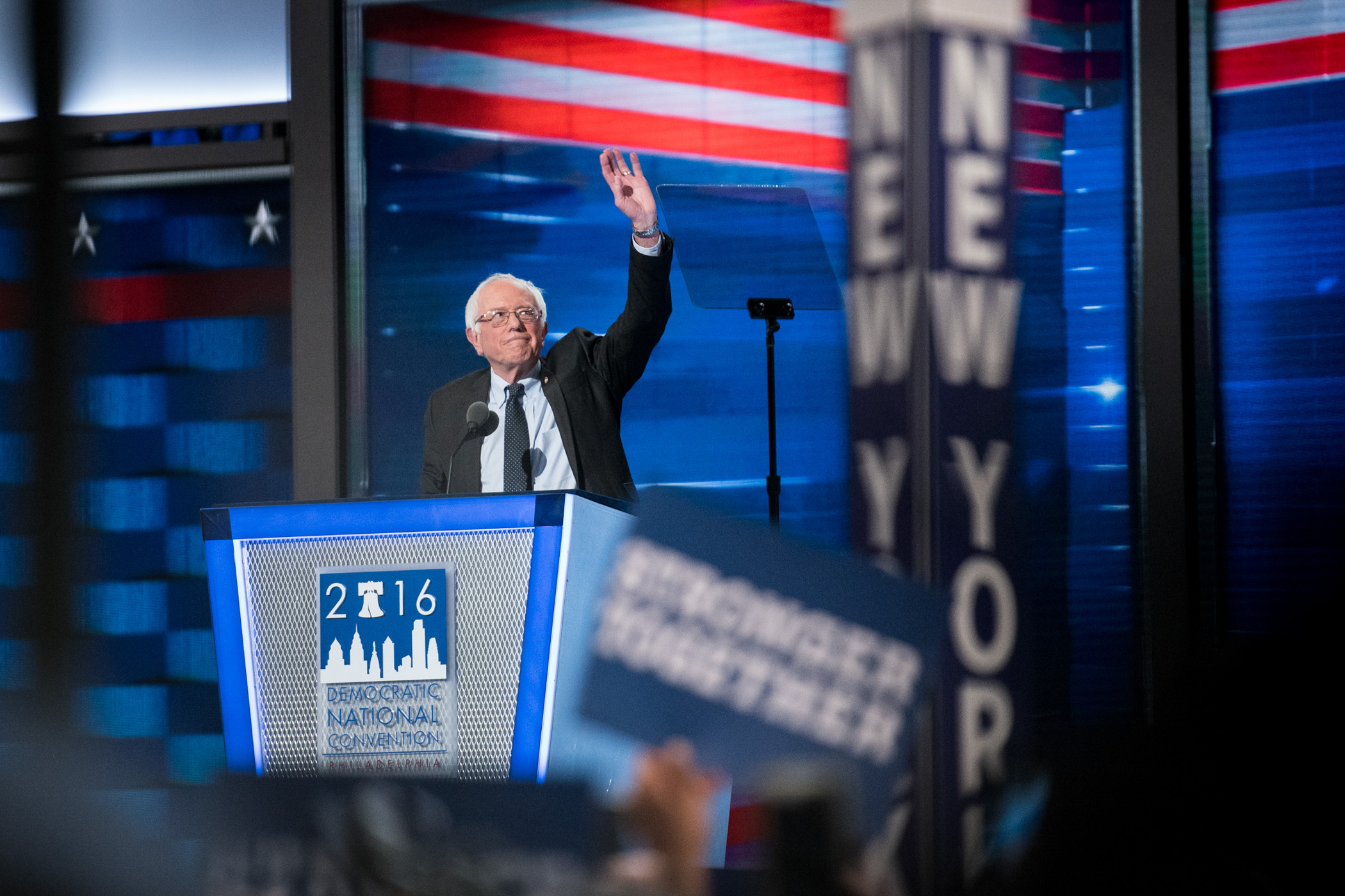 Senator Bernie Sanders, D-VT, addresses the delegates at the Democratic National Convention inside the Wells Fargo Center in Philadelphia on Monday July 25, 2016. (Michael Ares / Philadelphia Inquirer)
