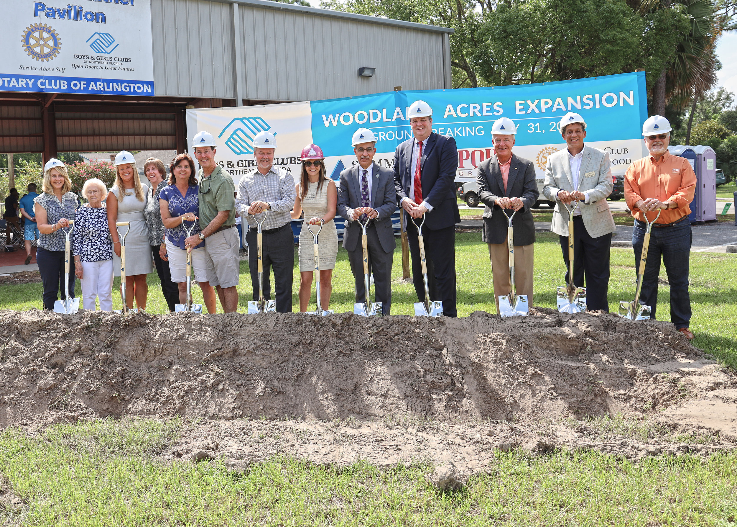 At the groundbreaking ceremony: Marc and Nicole Padgett along with Community and Industry Partners that made this Boys and Girls Clubs project possible.